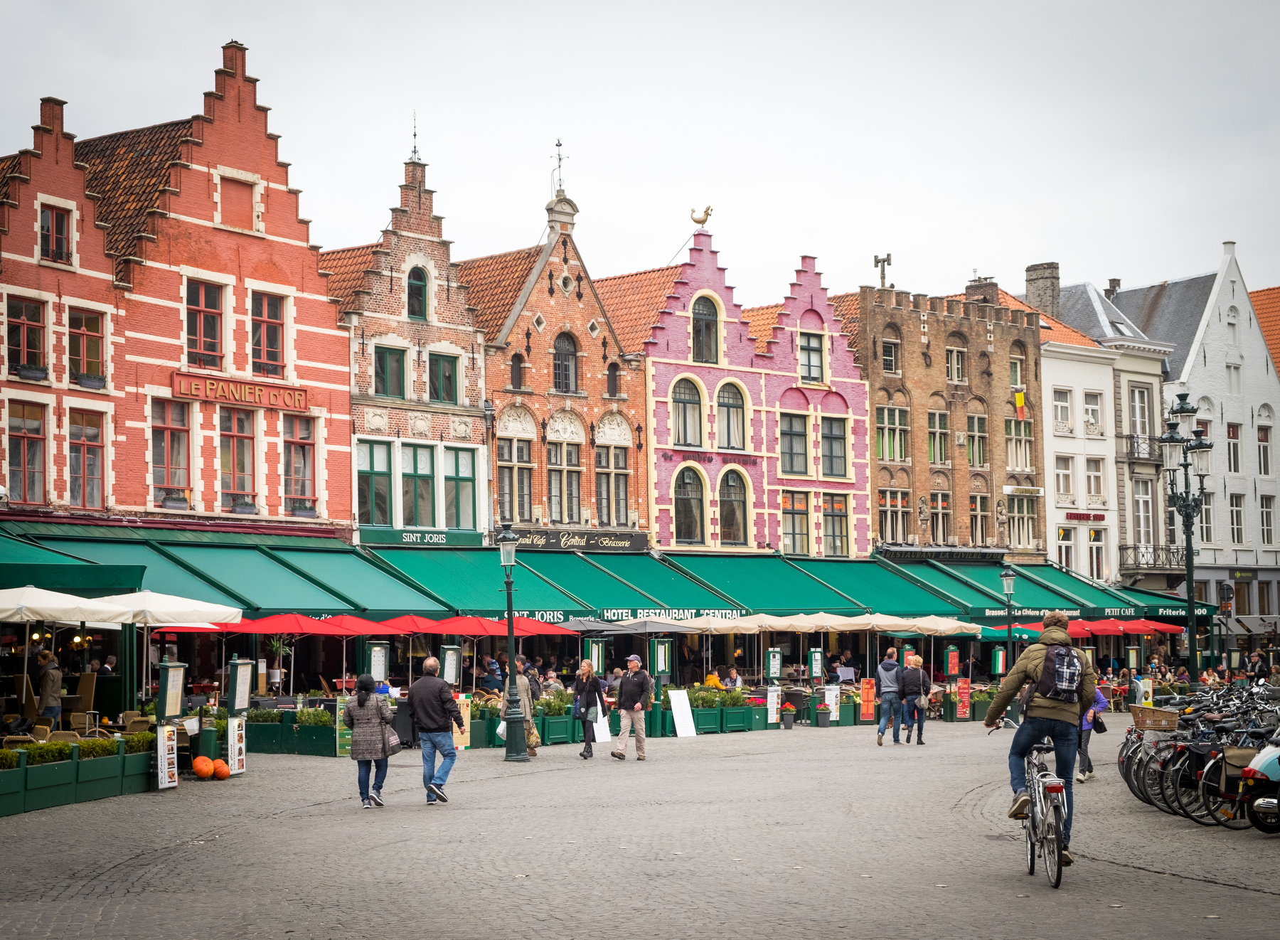 The main plaza In Bruges.
