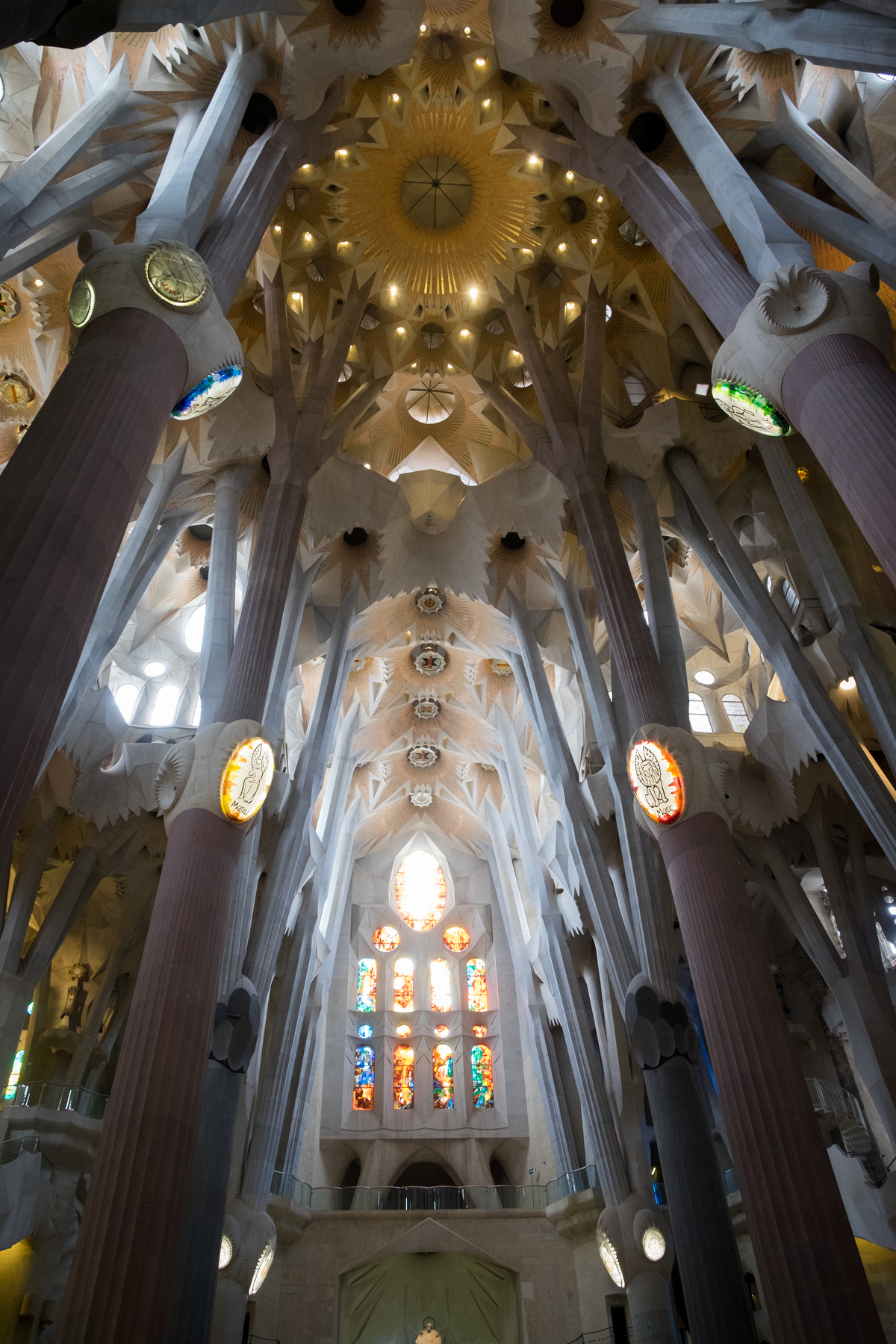 Inside La Sagrada Familia where the tops of the pillars were designs to look like trees branching out.