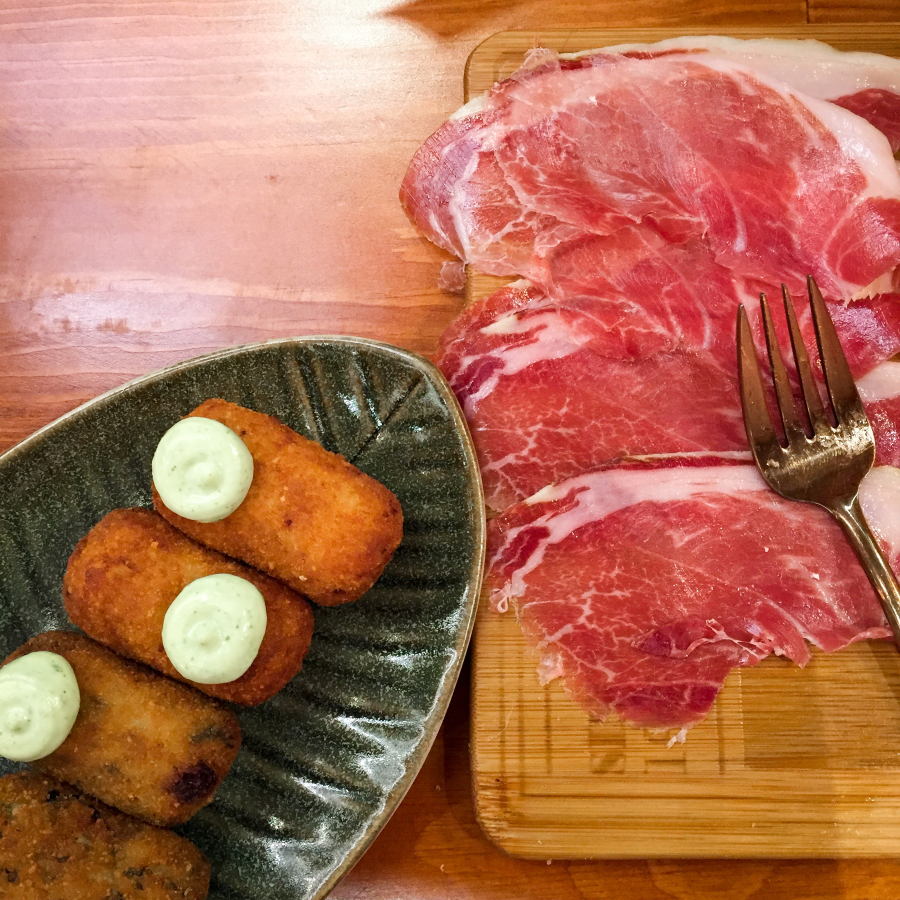 Croquettes and Iberian Ham (which I learned cures for two years before serving)