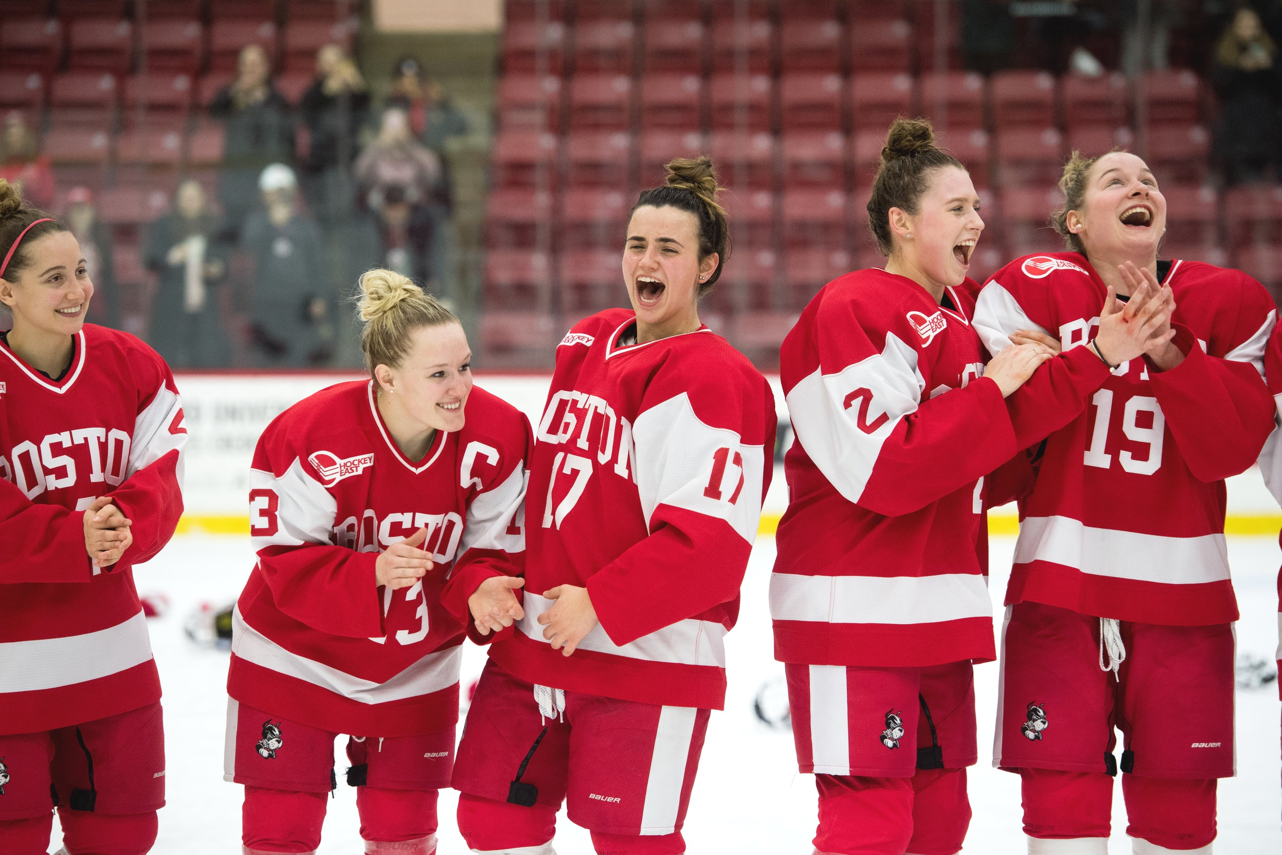 The Women's ice hockey team reacts to defeating Harvard at the 41st Women's Beanpot Tournament, their first Beanpot championship since becoming a varsity team, in 2005.