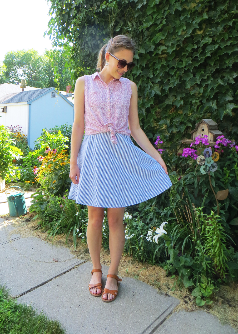 Floral blouse over gingham dress -- Cotton Cashmere Cat Hair
