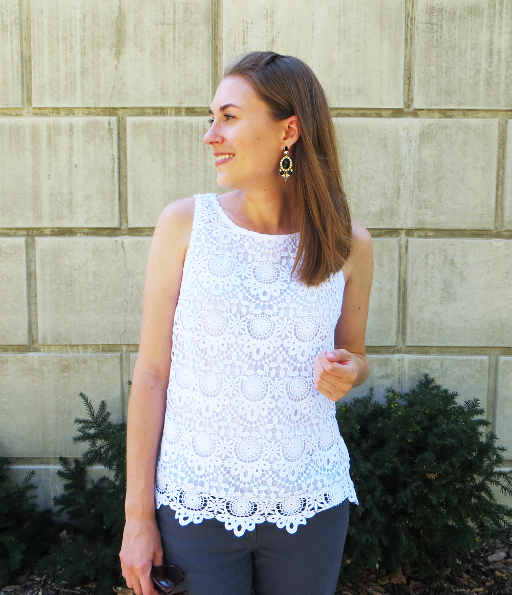 Lilly for Target crochet top, black statement earrings -- Cotton Cashmere Cat Hair