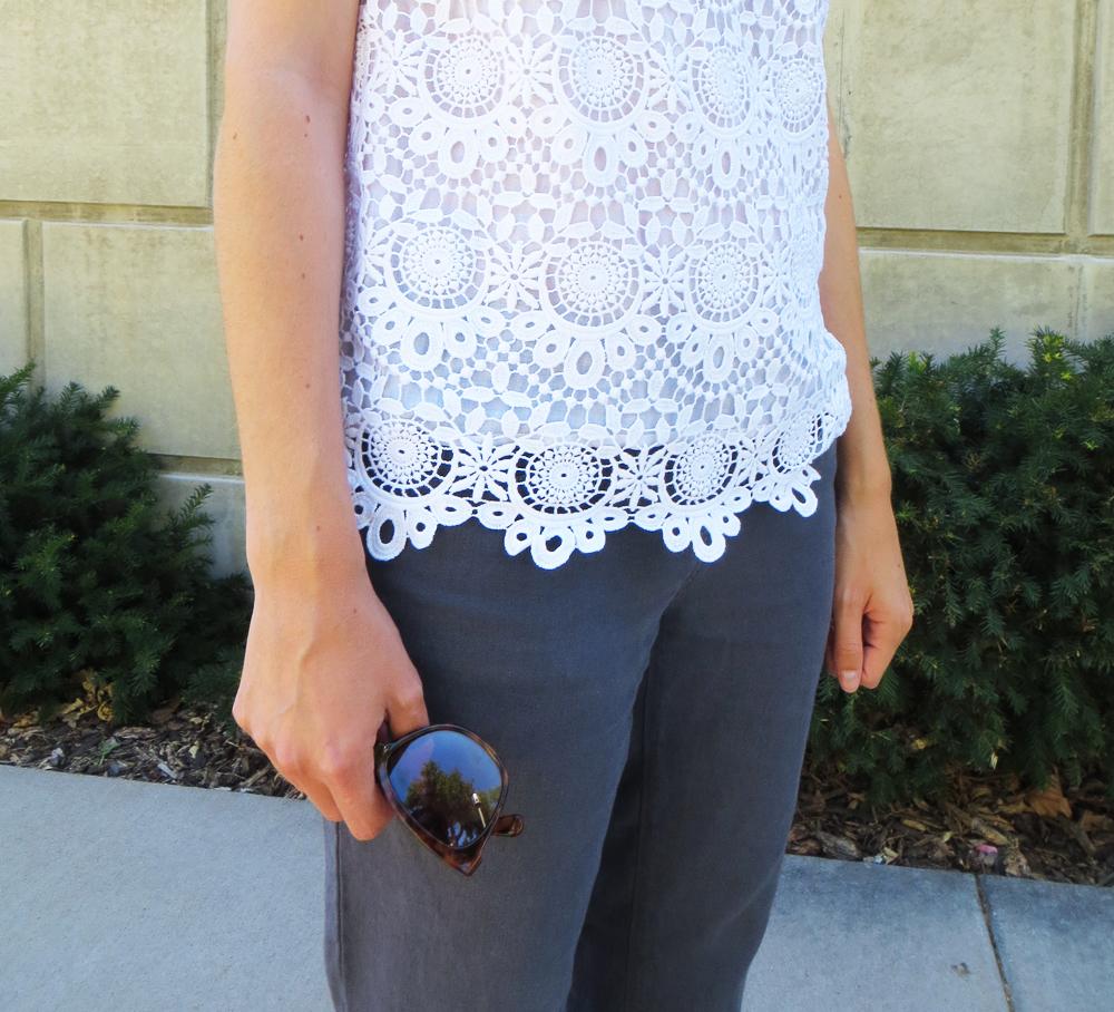 White crochet top and blue-grey cotton-linen pants -- Cotton Cashmere Cat Hair