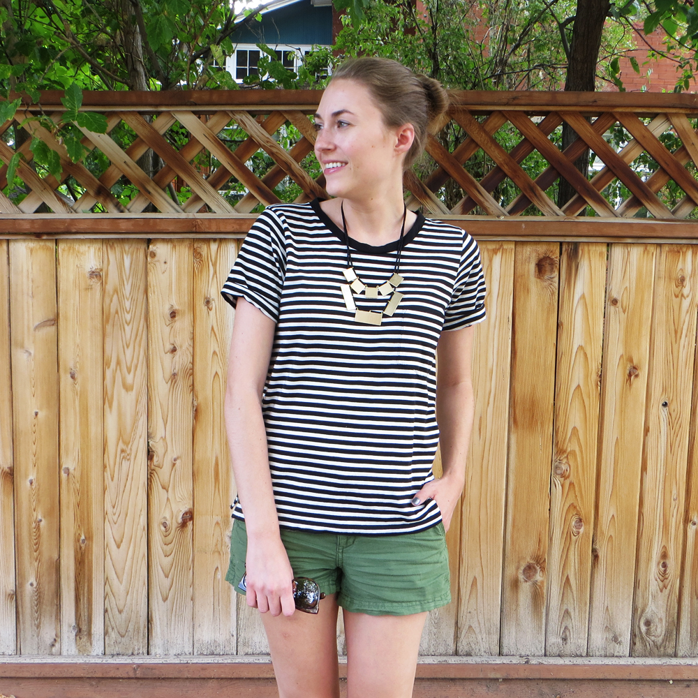 Rectangular geometric necklace, striped tee, green shorts -- Cotton Cashmere Cat Hair