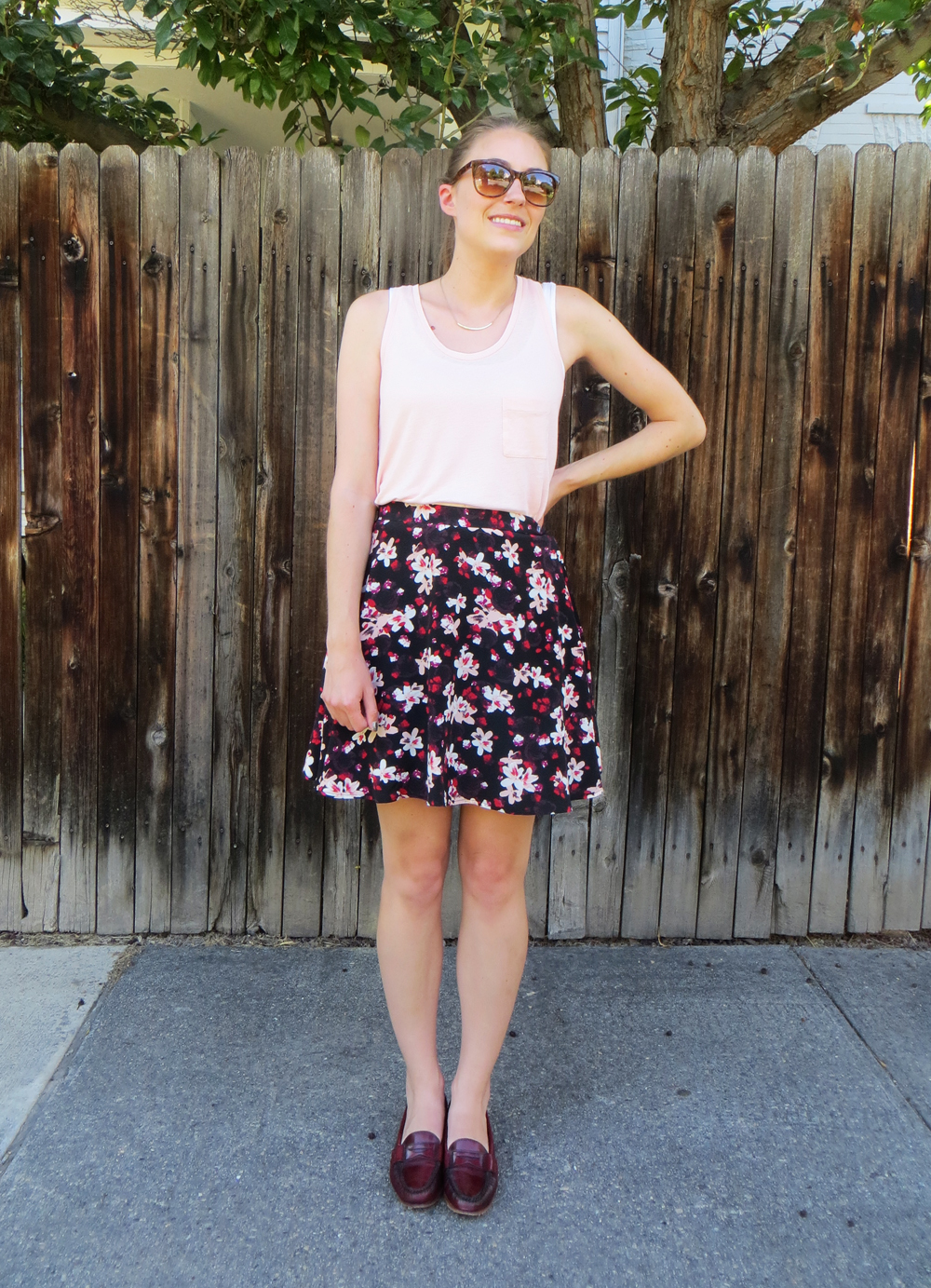 Blush tank top, black floral skirt, burgundy loafers -- Cotton Cashmere Cat Hair