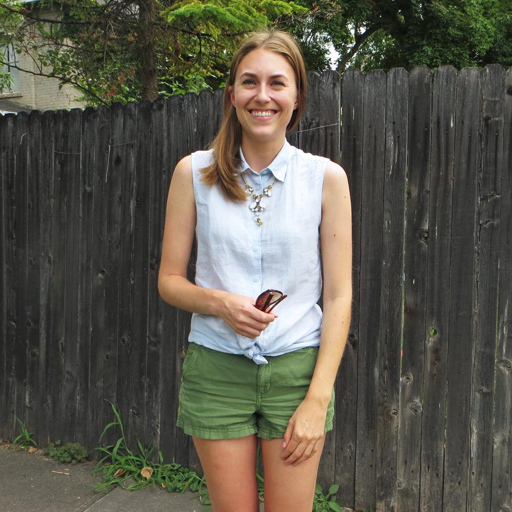 Blue linen shirt, green shorts, statement necklace -- Cotton Cashmere Cat Hair