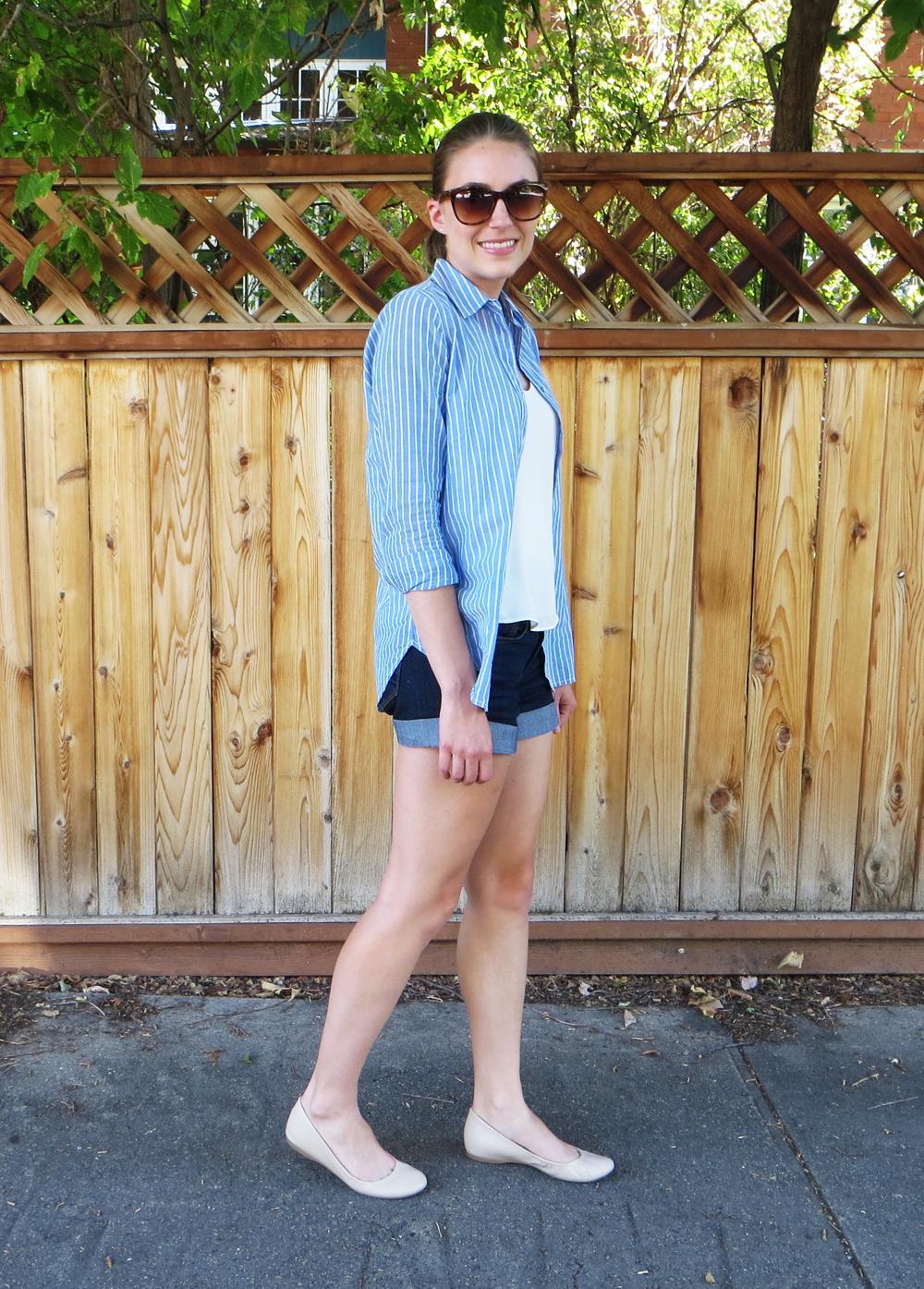 Blue striped shirt, ivory top, dark wash denim shorts, beige flats -- Cotton Cashmere Cat Hair