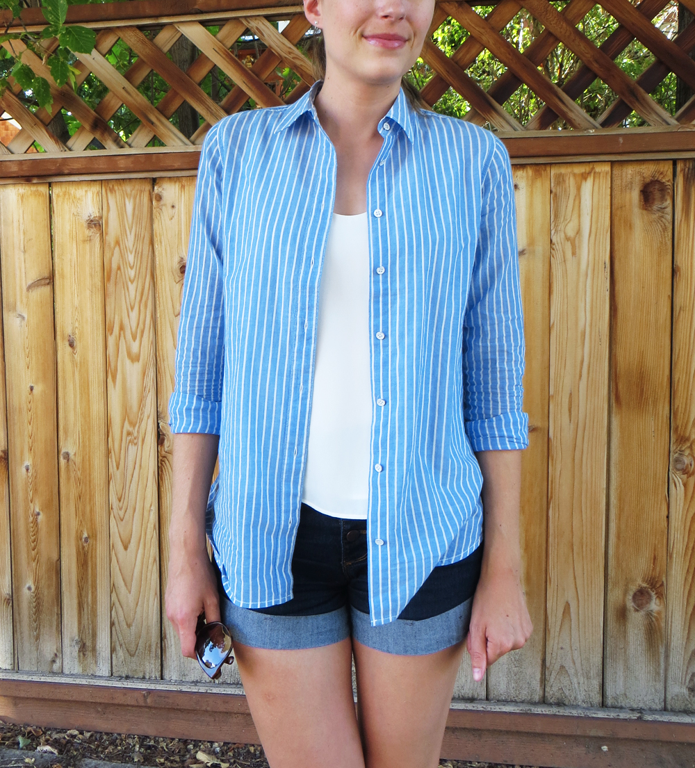 Blue striped shirt, ivory top, dark wash denim shorts -- Cotton Cashmere Cat Hair