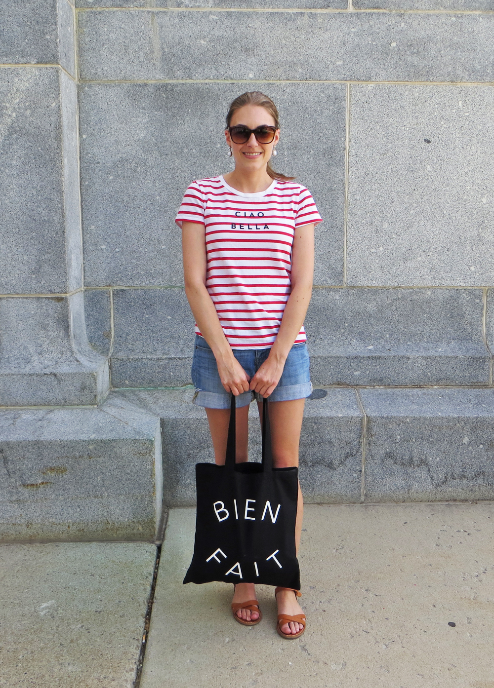 Red striped tee, light wash denim shorts, tan sandals, Madewell tote -- Cotton Cashmere Cat Hair