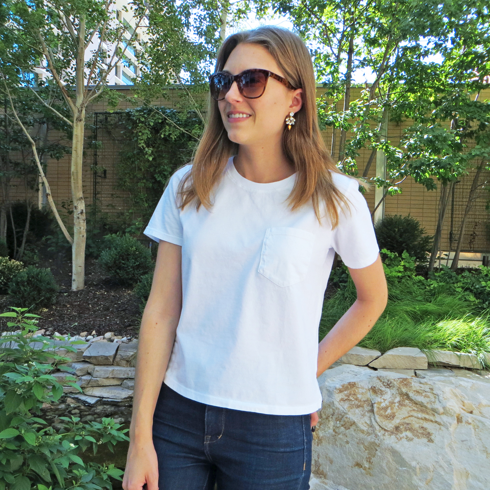 White tee + statement earrings -- Cotton Cashmere Cat Hair