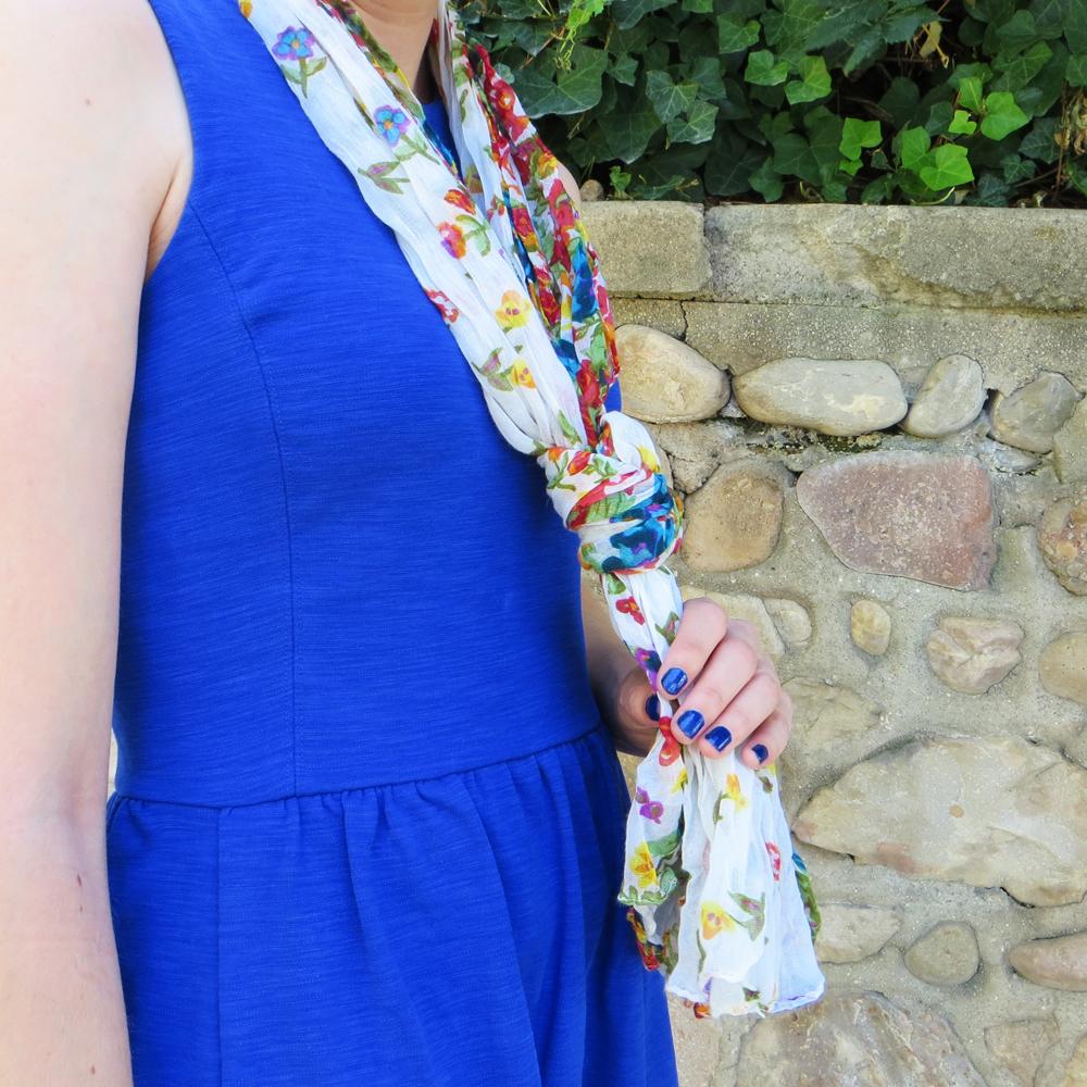Cobalt blue dress + floral scarf -- Cotton Cashmere Cat Hair