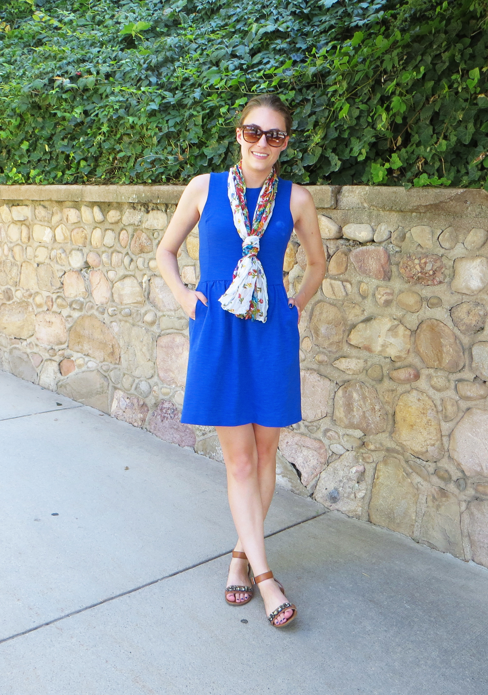 Cobalt blue dress, jeweled sandals, floral scarf -- Cotton Cashmere Cat Hair