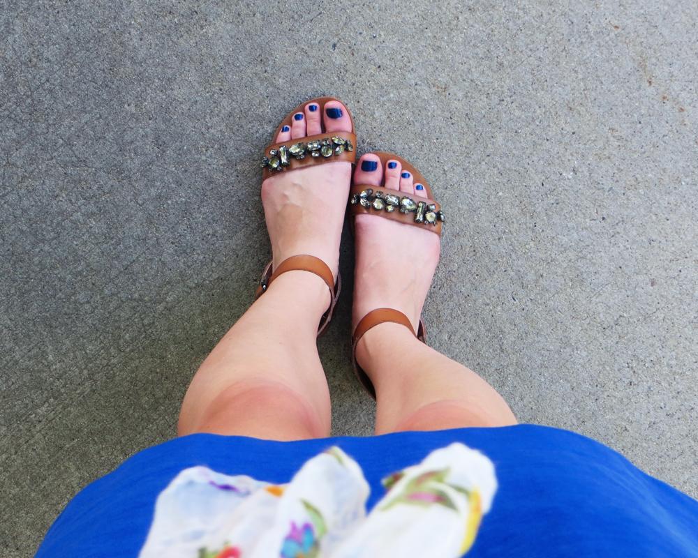 Cobalt blue dress + Target jeweled sandals -- Cotton Cashmere Cat Hair
