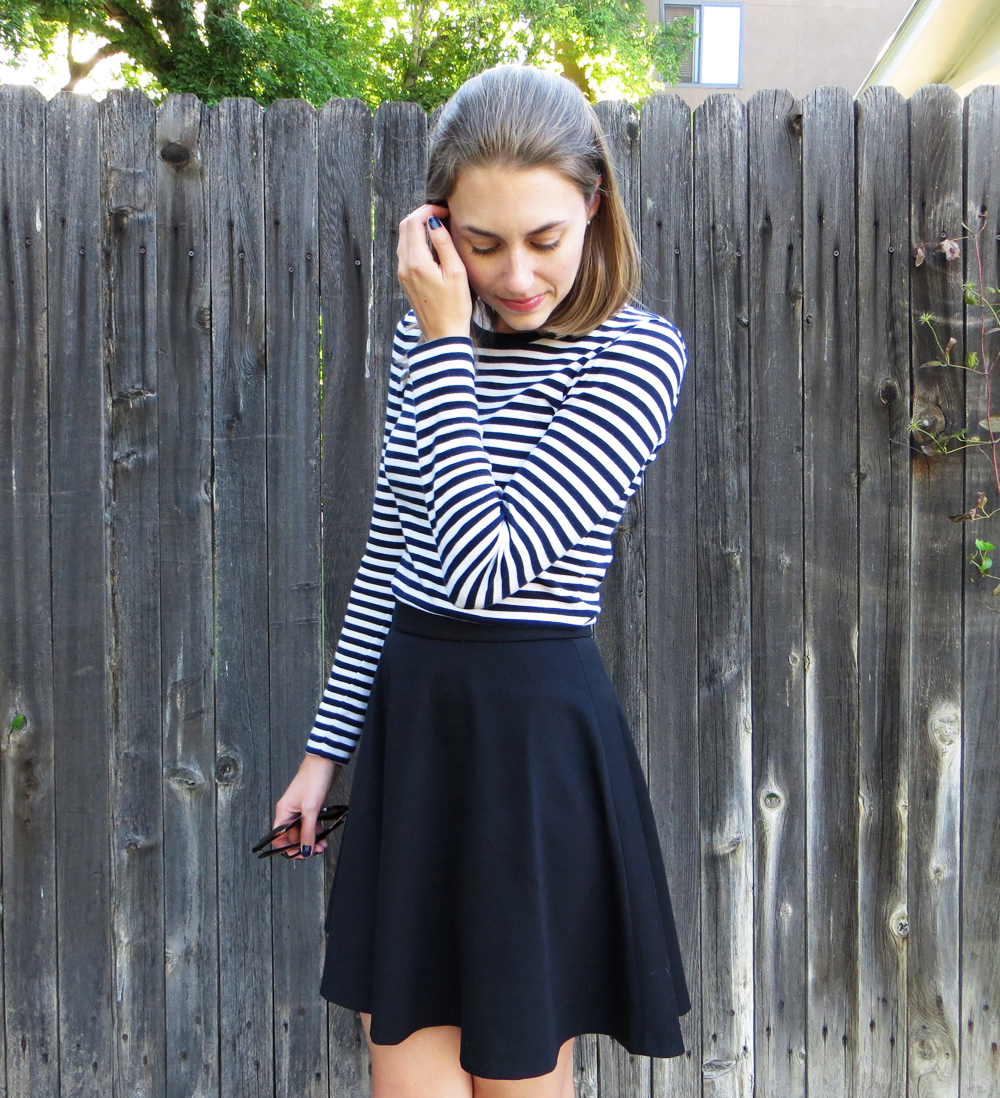 Gamine in navy stripes and black -- Cotton Cashmere Cat Hair