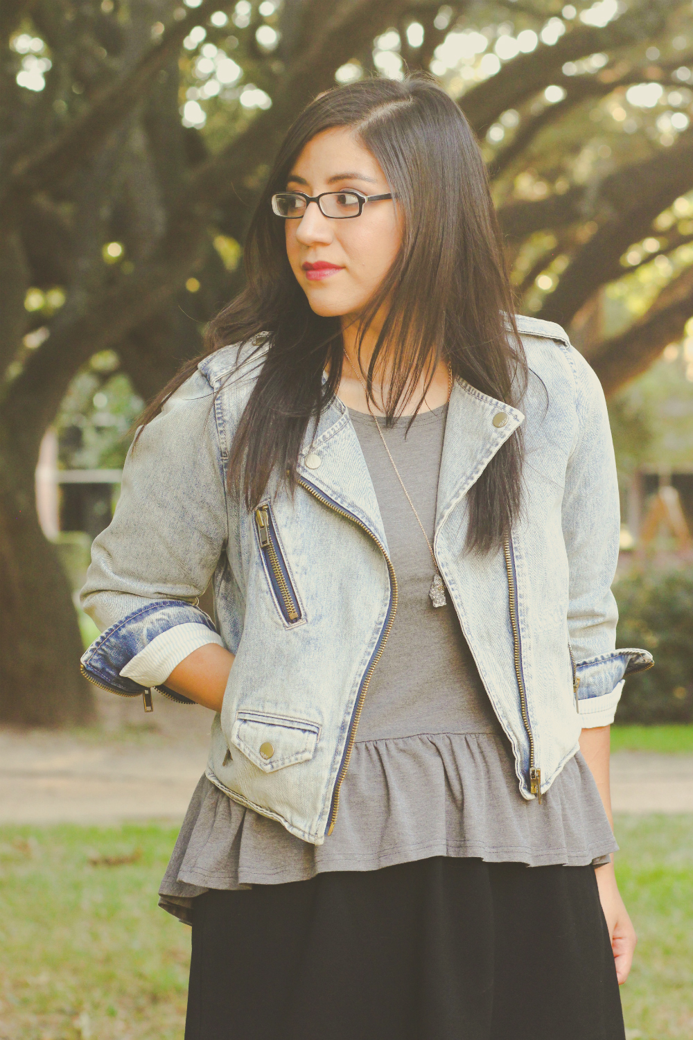 Leah from Morning Ink: Denim jacket + grey peplum top