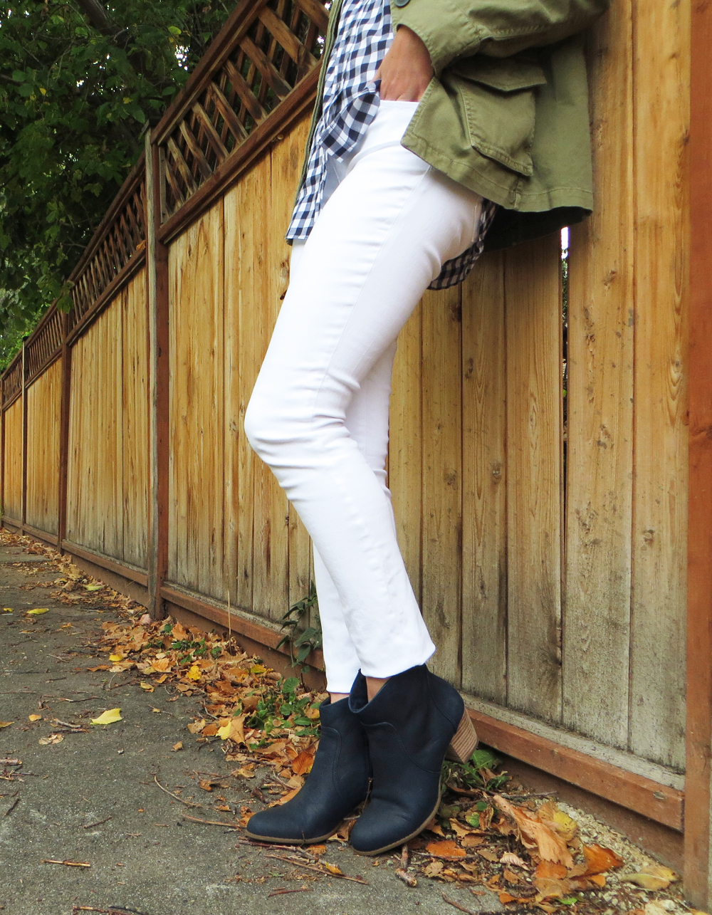 Army green jacket, navy gingham, white denim, navy ankle boots -- Cotton Cashmere Cat Hair