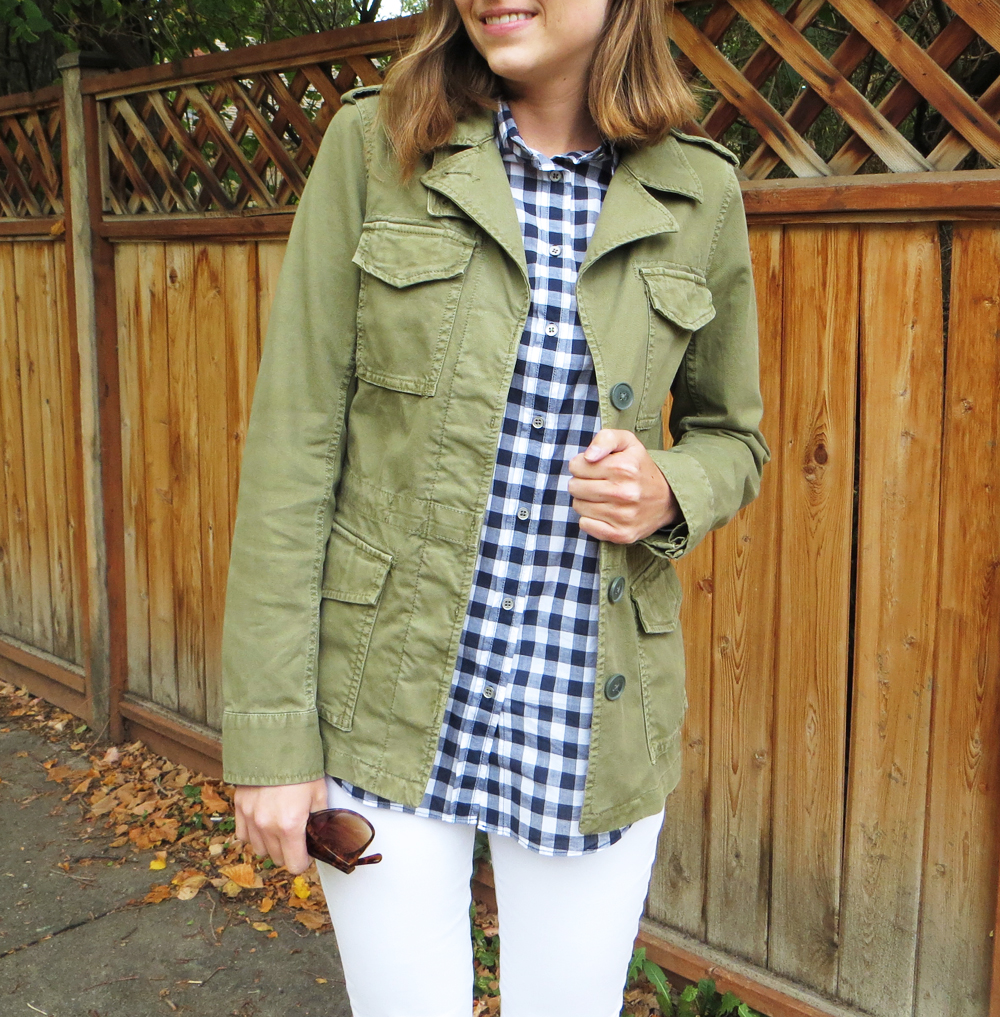 Army green + navy gingham -- Cotton Cashmere Cat Hair
