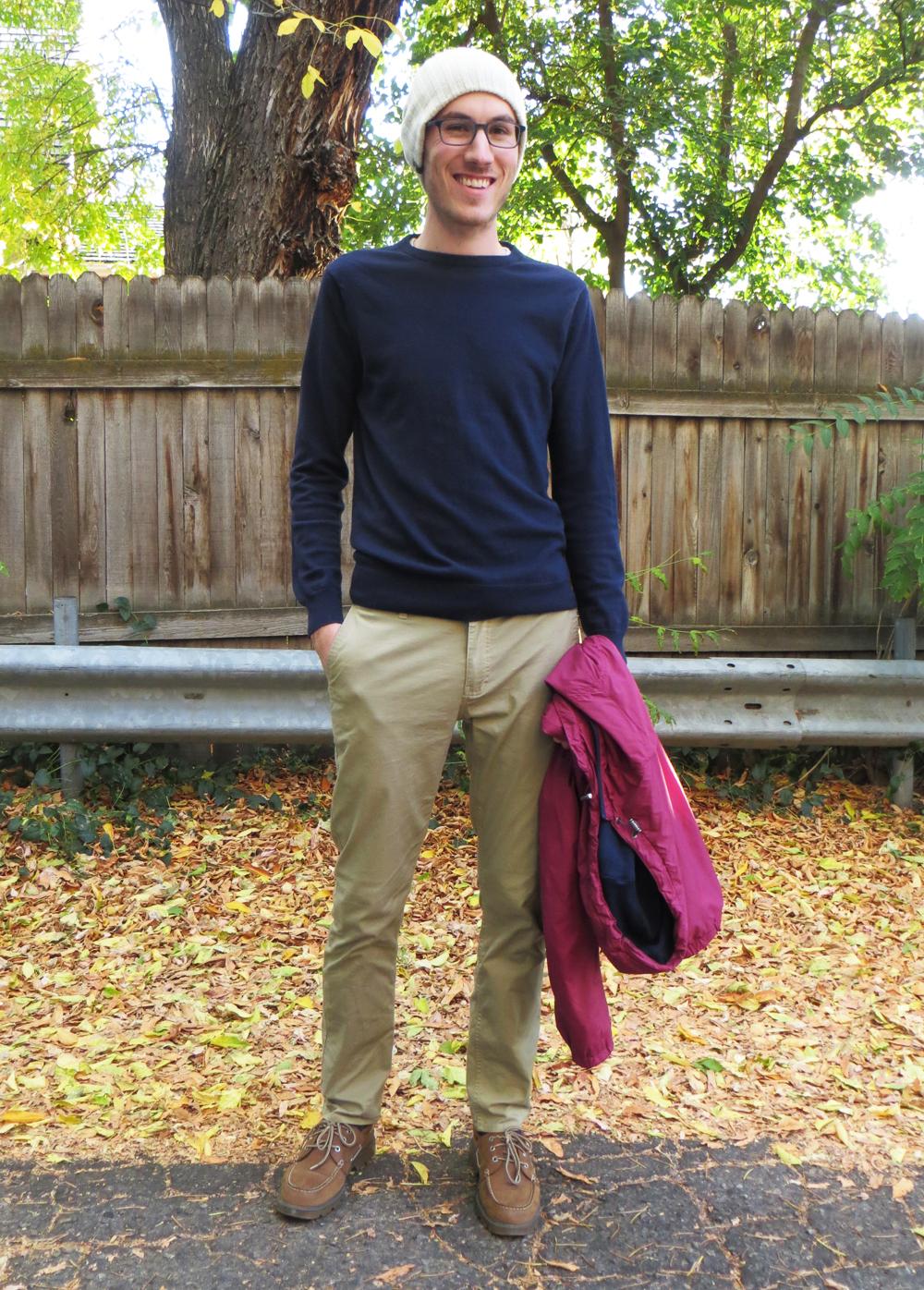 His grad student style: Navy crewneck sweater, khaki pants, brown boat shoes, beanie -- Cotton Cashmere Cat Hair