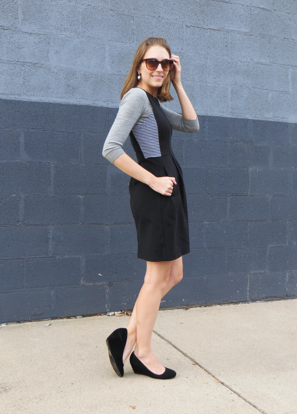 Light grey sweater layered under a black dress -- Cotton Cashmere Cat Hair