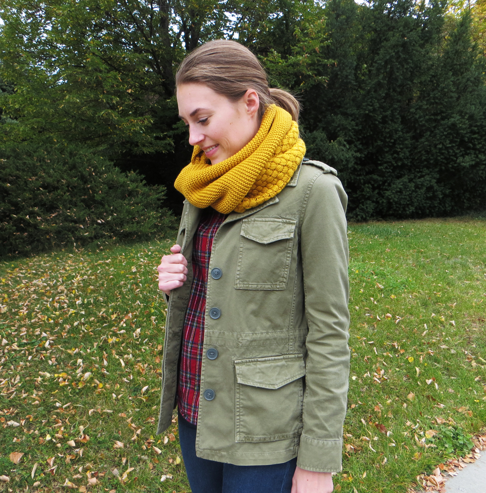 Army green utility jacket, plaid shirt, mustard scarf -- Cotton Cashmere Cat Hair