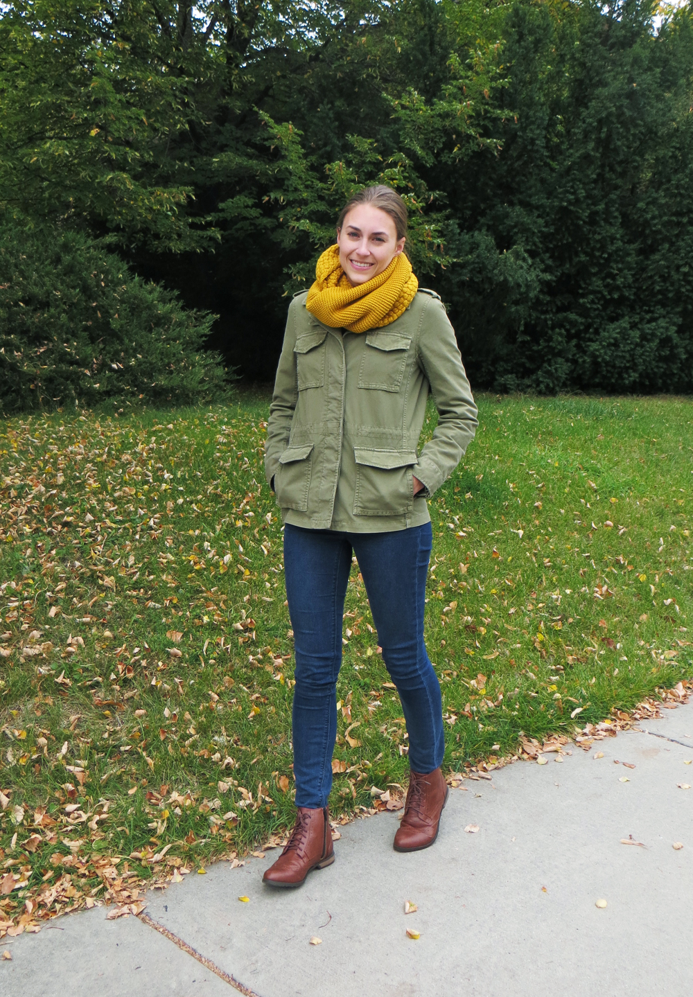 Army green utility jacket, skinny jeans, brown ankle boots, mustard scarf -- Cotton Cashmere Cat Hair