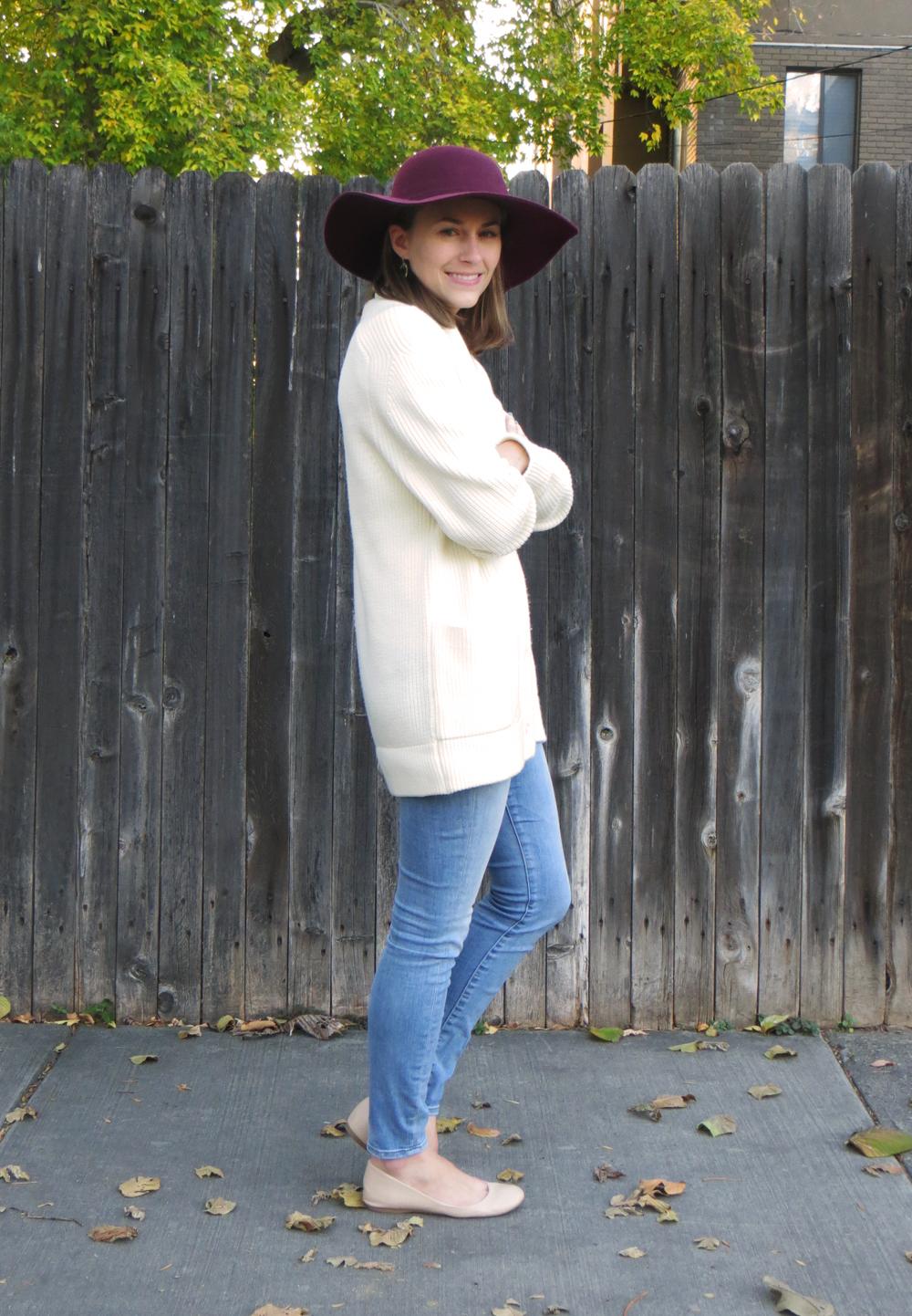 Chunky knit cardigan + skinny jeans + burgundy felt hat -- Cotton Cashmere Cat Hair