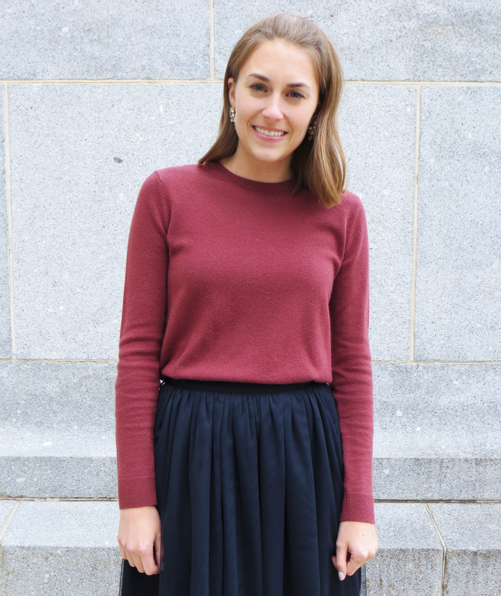 Marsala cashmere sweater, navy tulle skirt, statement earrings — Cotton Cashmere Cat Hair