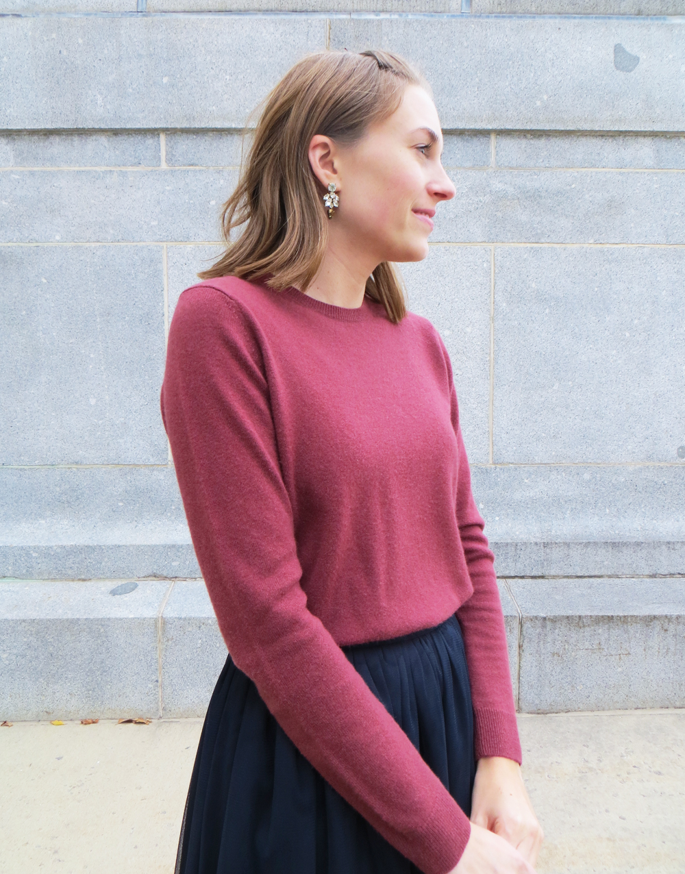Marsala cashmere sweater + navy tulle skirt + crystal statement earrings — Cotton Cashmere Cat Hair
