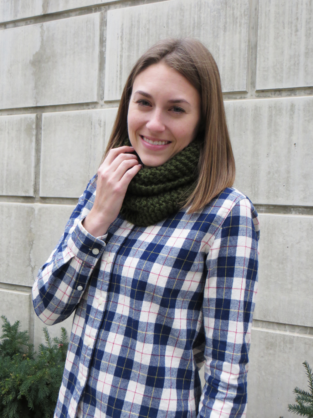 Forest green knit scarf + navy plaid flannel shirt — Cotton Cashmere Cat Hair