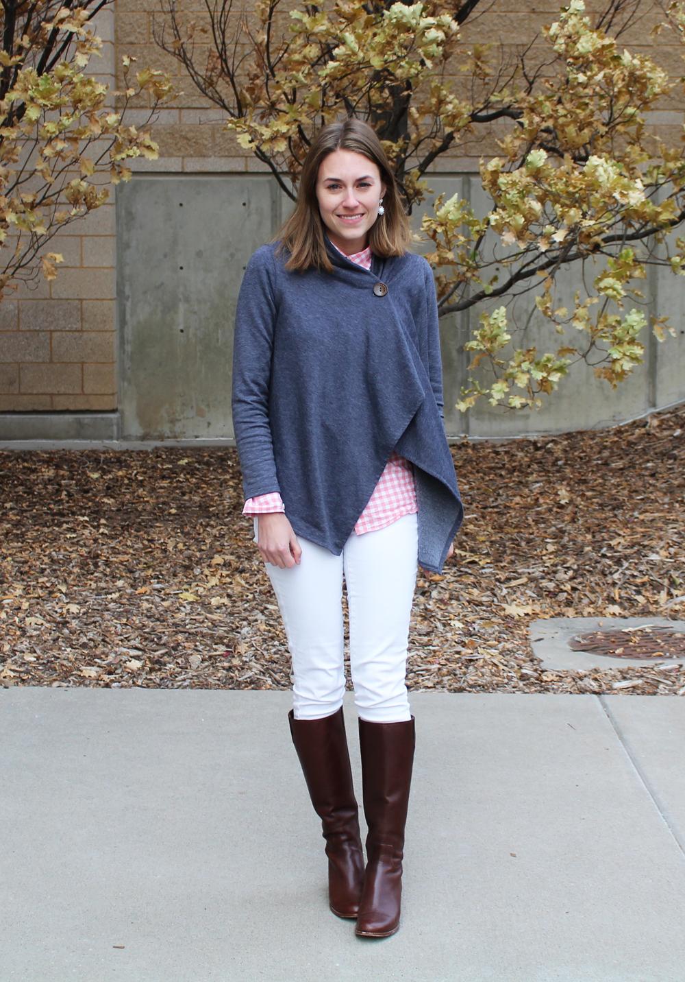 Asymmetrical cardigan, pink gingham shirt, white denim, brown tall boots — Cotton Cashmere Cat Hair
