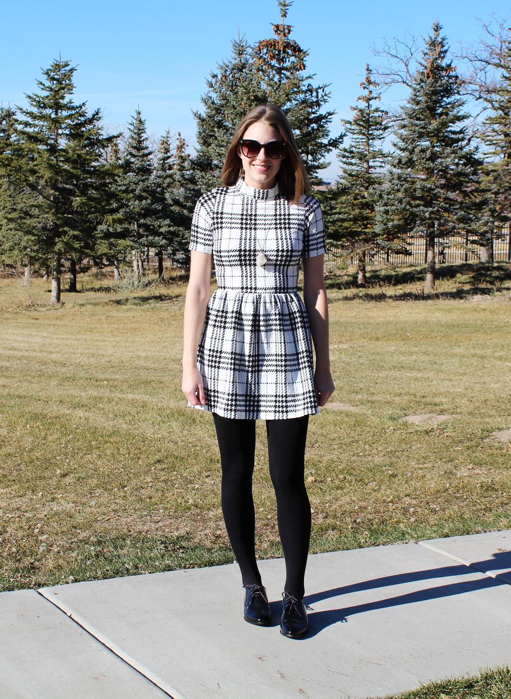 Plaid dress, fleece-lined tights, black oxfords, quartz pendant necklace — Cotton Cashmere Cat Hair