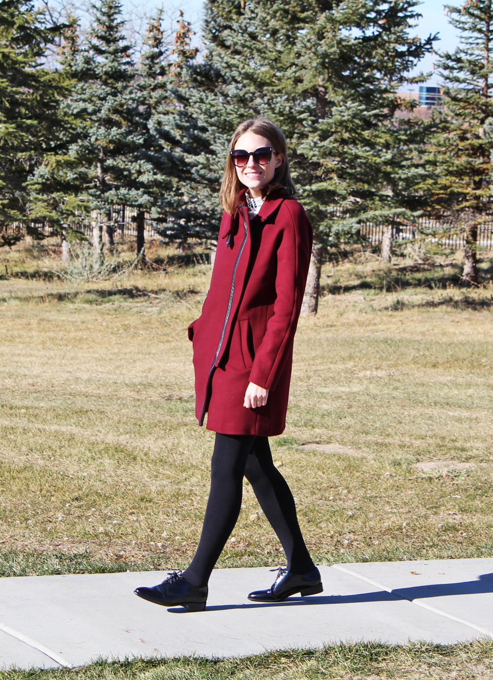 Madewell City Grid Coat + Madewell Jess Oxfords in Cordovan — Cotton Cashmere Cat Hair