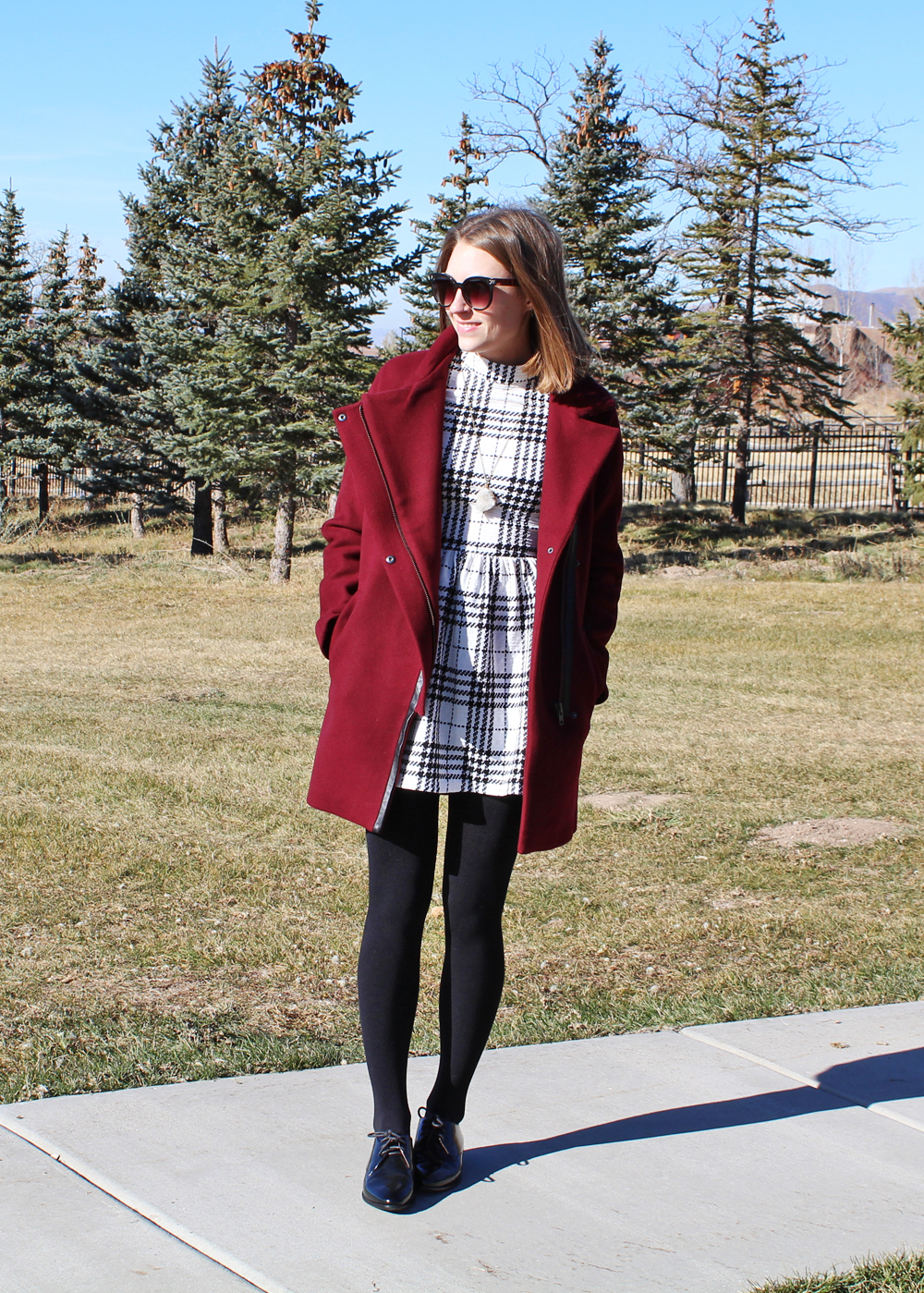 Madewell City Grid coat, plaid dress, fleece-lined leggings, black oxfords, quartz pendant necklace — Cotton Cashmere Cat Hair