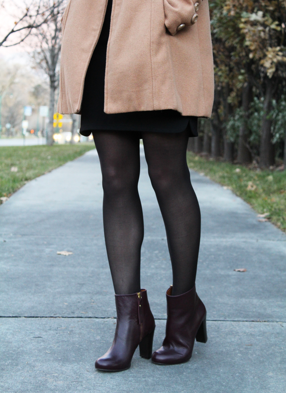 & Other Stories dark red heeled ankle boots — Cotton Cashmere Cat Hair