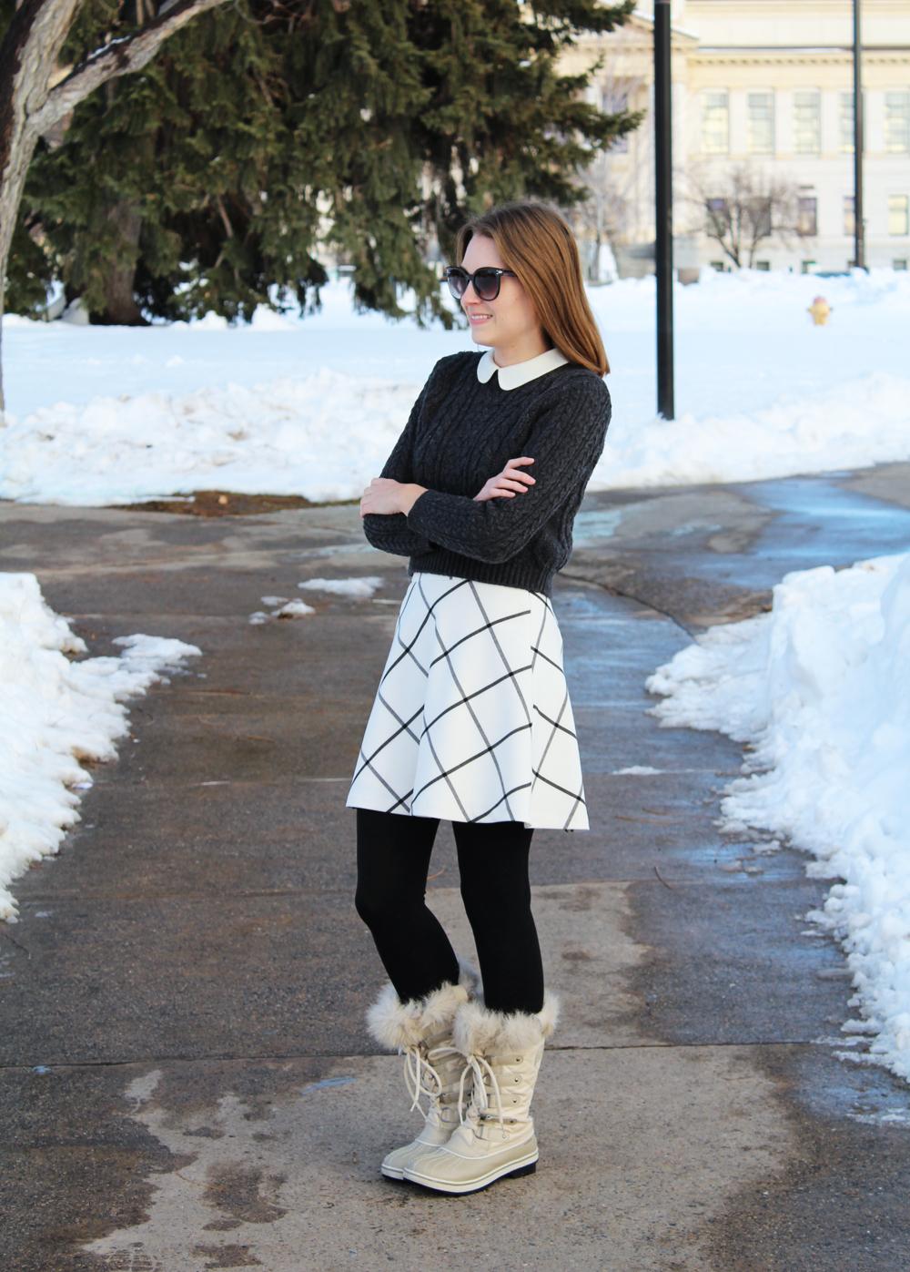 Cropped sweater, Peter Pan collar, windowpane skirt, fleece-lined leggings, Sorel boots — Cotton Cashmere Cat Hair