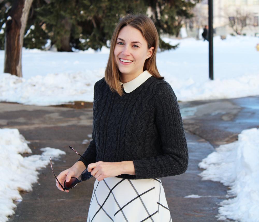 Cropped sweater + Peter Pan collar + windowpane skirt — Cotton Cashmere Cat Hair
