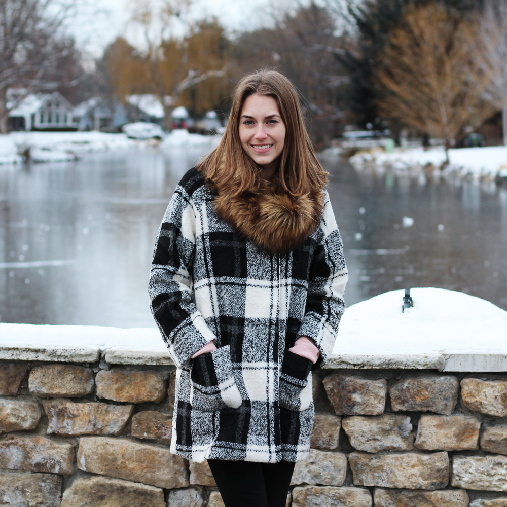 Faux fur scarf + plaid coat — Cotton Cashmere Cat Hair
