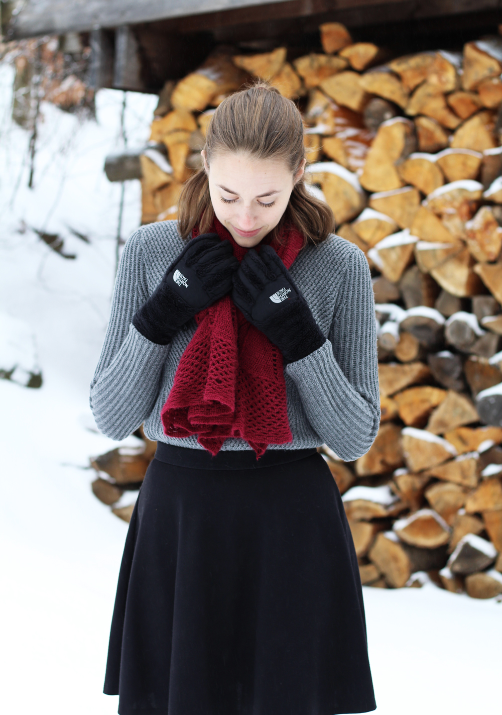 Grey sweater, black skirt, burgundy scarf, black gloves — Cotton Cashmere Cat Hair