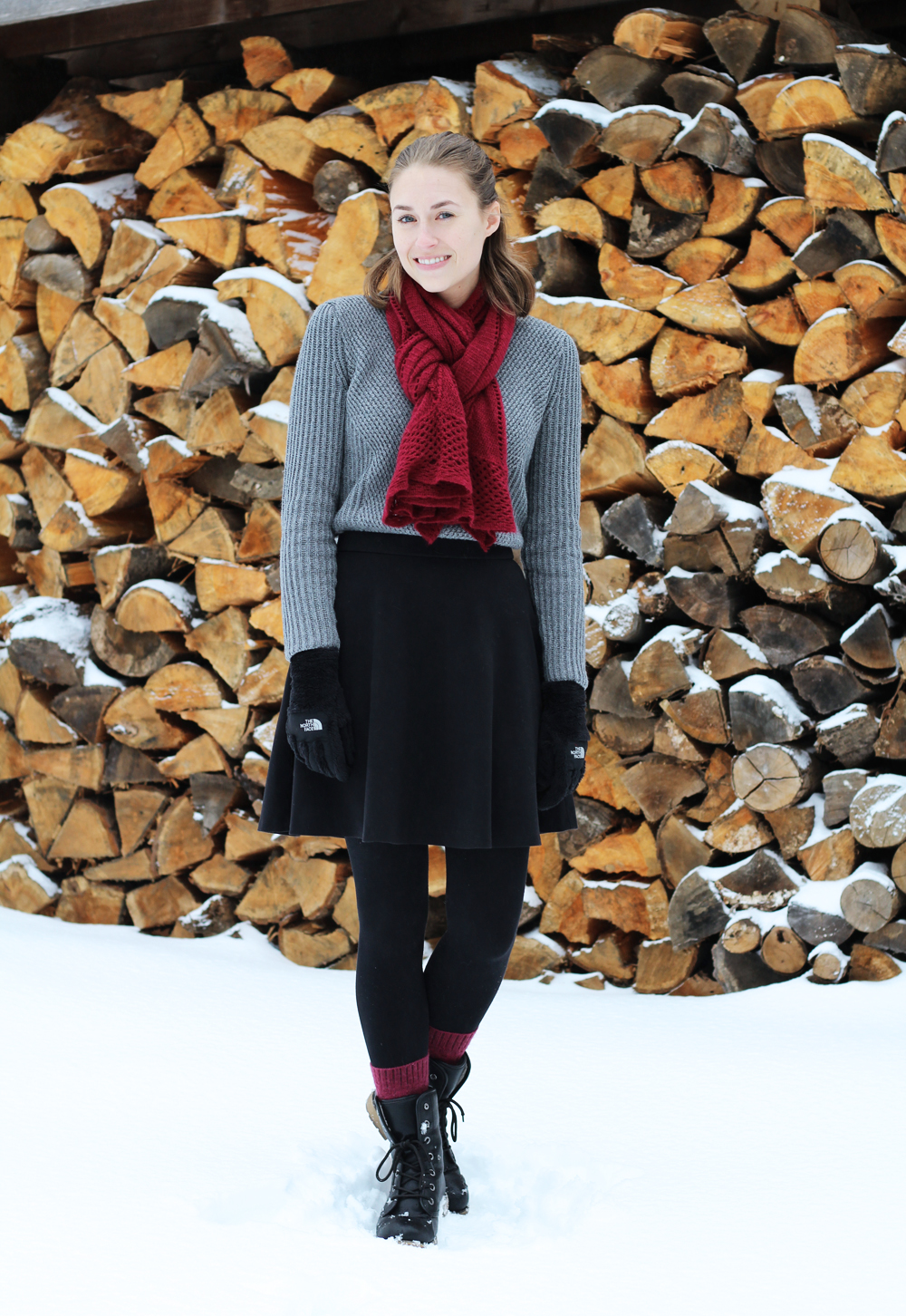 Grey sweater, black skirt, black boots, burgundy scarf — Cotton Cashmere Cat Hair