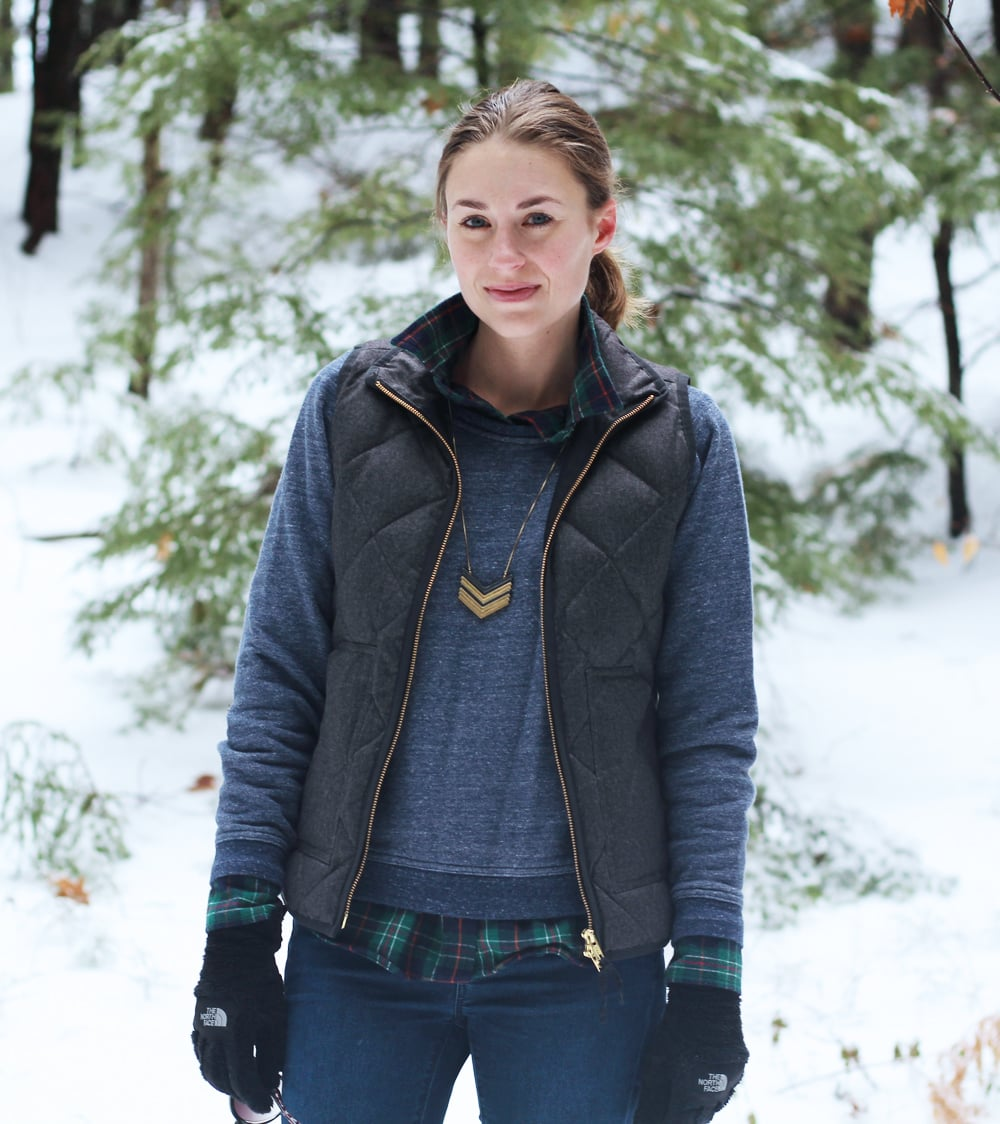 Winter layers: Puffer vest + marled sweatshirt + plaid flannel shirt + Madewell Arrowstack necklace — Cotton Cashmere Cat Hair