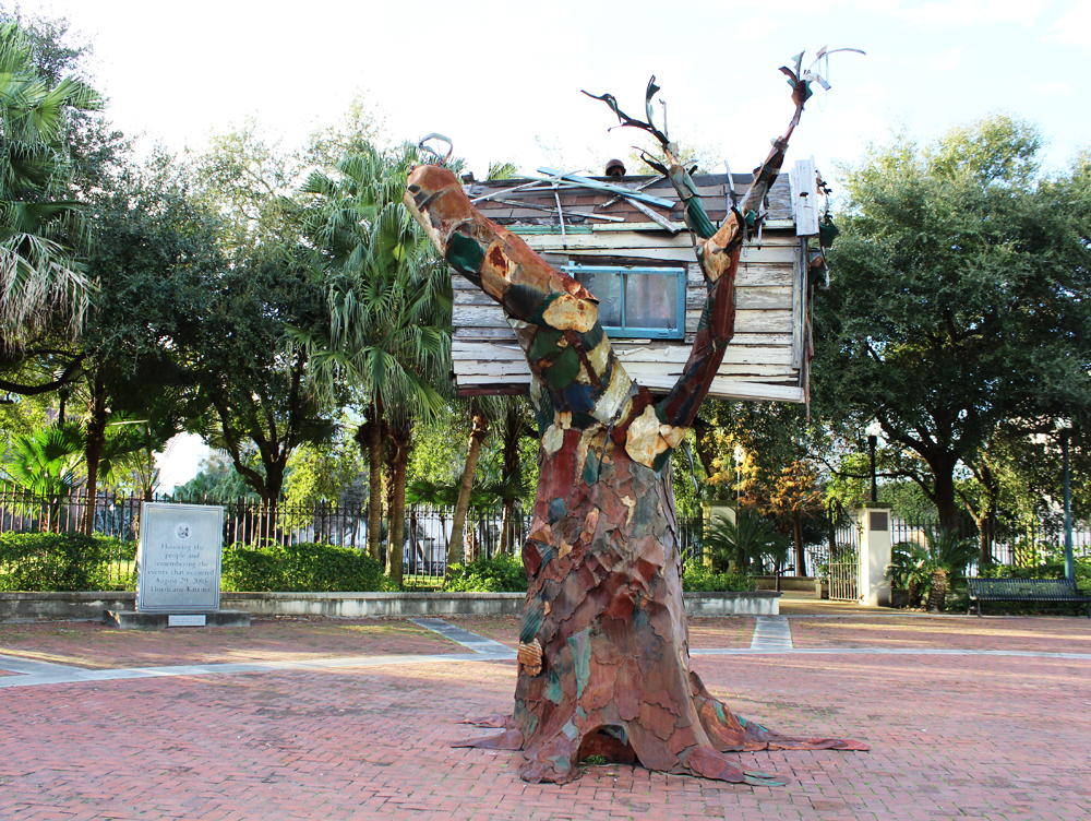 """Scrap House"" by Sally Heller, Mississippi River Heritage Park, New Orleans — Cotton Cashmere Cat Hair"