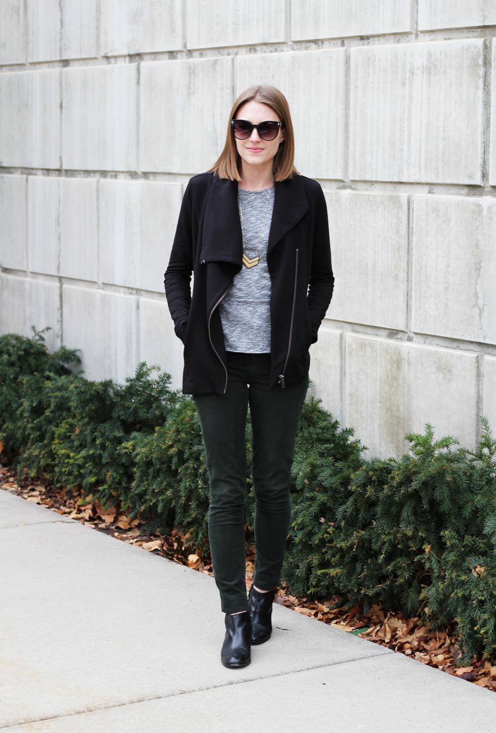 Helmut Lang sweatshirt, grey pepulm top, green corduroy pants, black ankle boots — Cotton Cashmere Cat Hair