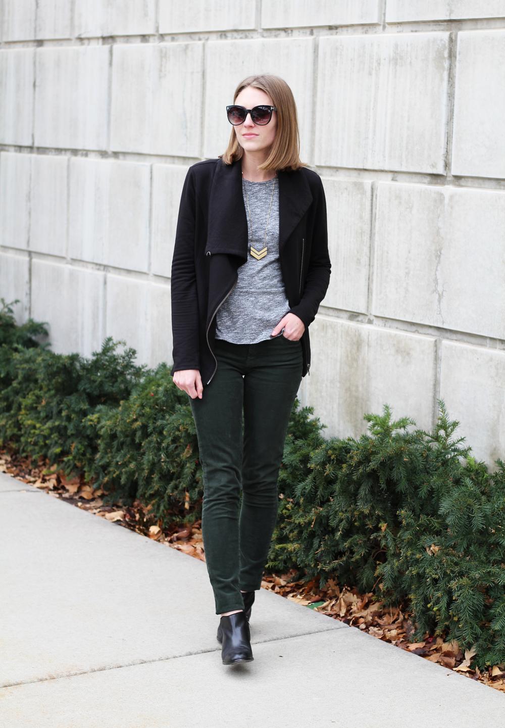 Helmut Lang sweatshirt, grey peplum top, green corduroy pants, black ankle boots — Cotton Cashmere Cat Hair
