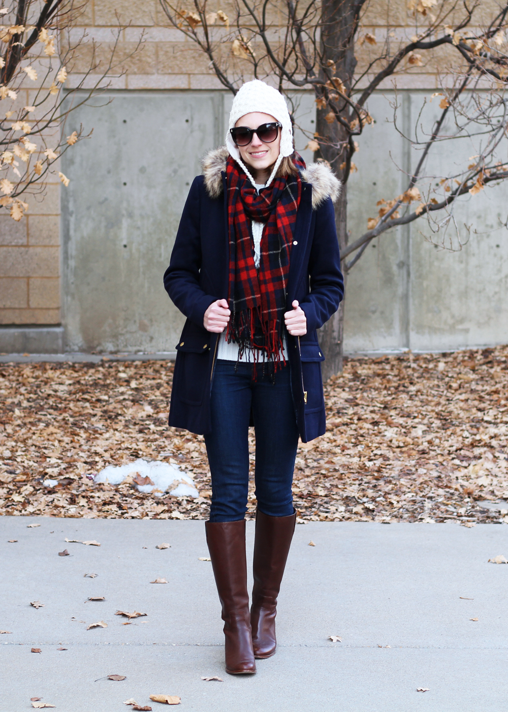J.Crew Factory 'Vail' parka, ivory sweater, skinny jeans, tall boots, plaid scarf, pom beanie — Cotton Cashmere Cat Hair