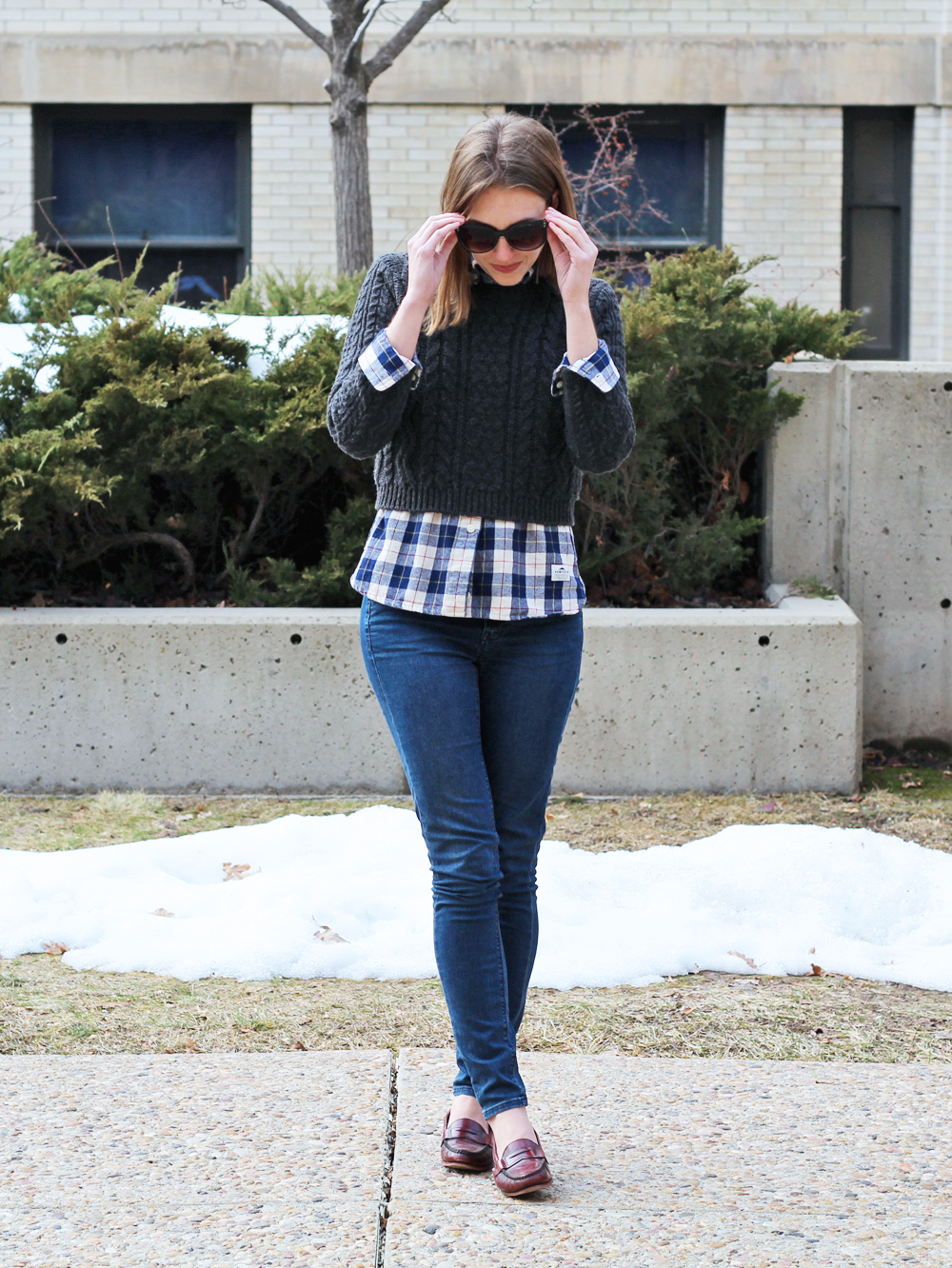 Cropped sweater over plaid flannel shirt, skinny jeans, burgundy loafers — Cotton Cashmere Cat Hair