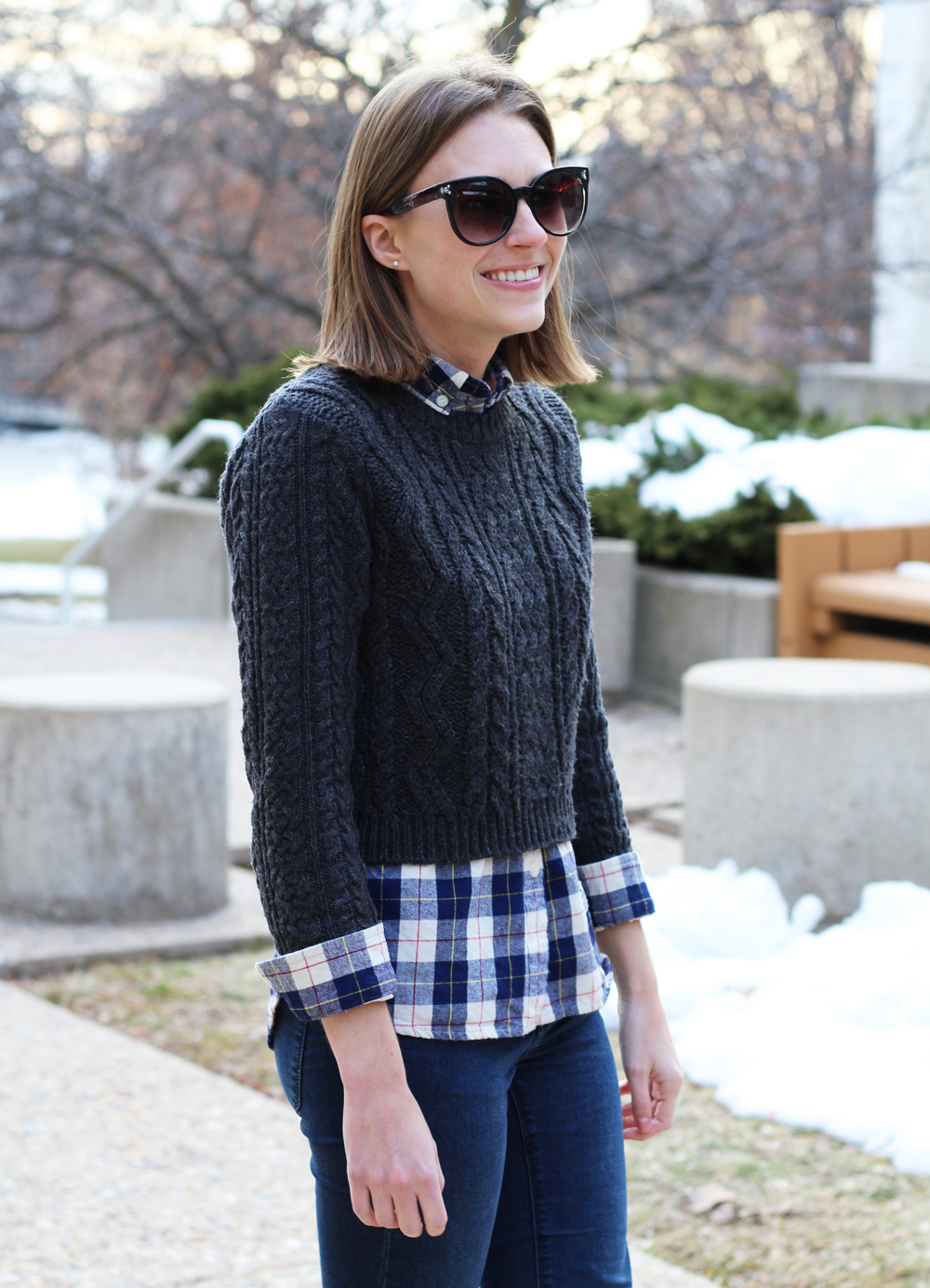 Cropped cable knit sweater + navy plaid flannel shirt — Cotton Cashmere Cat Hair