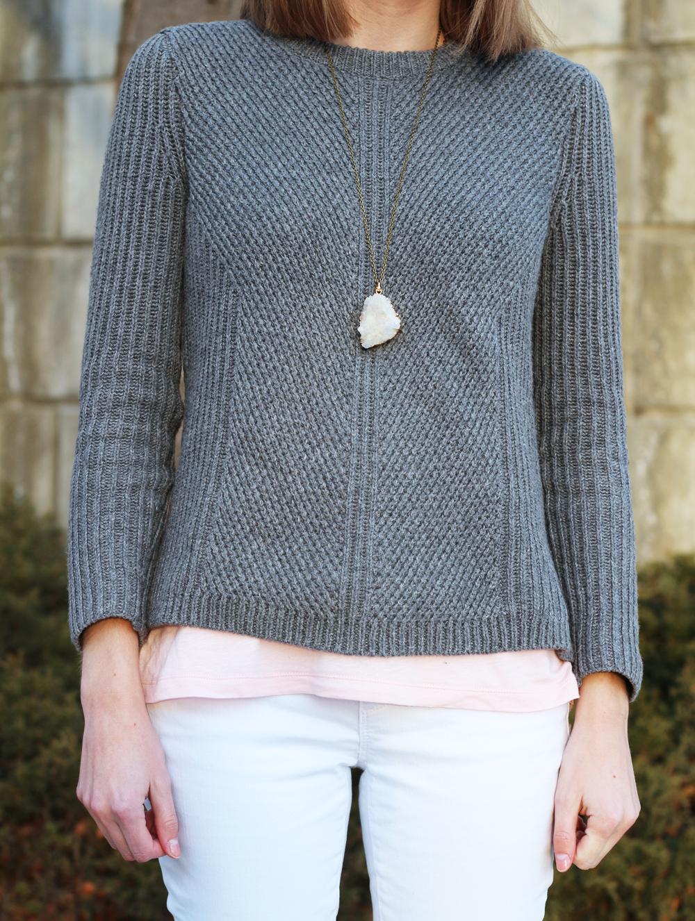 Grey sweater layered over pink tank top + white denim + quartz pendant — Cotton Cashmere Cat Hair