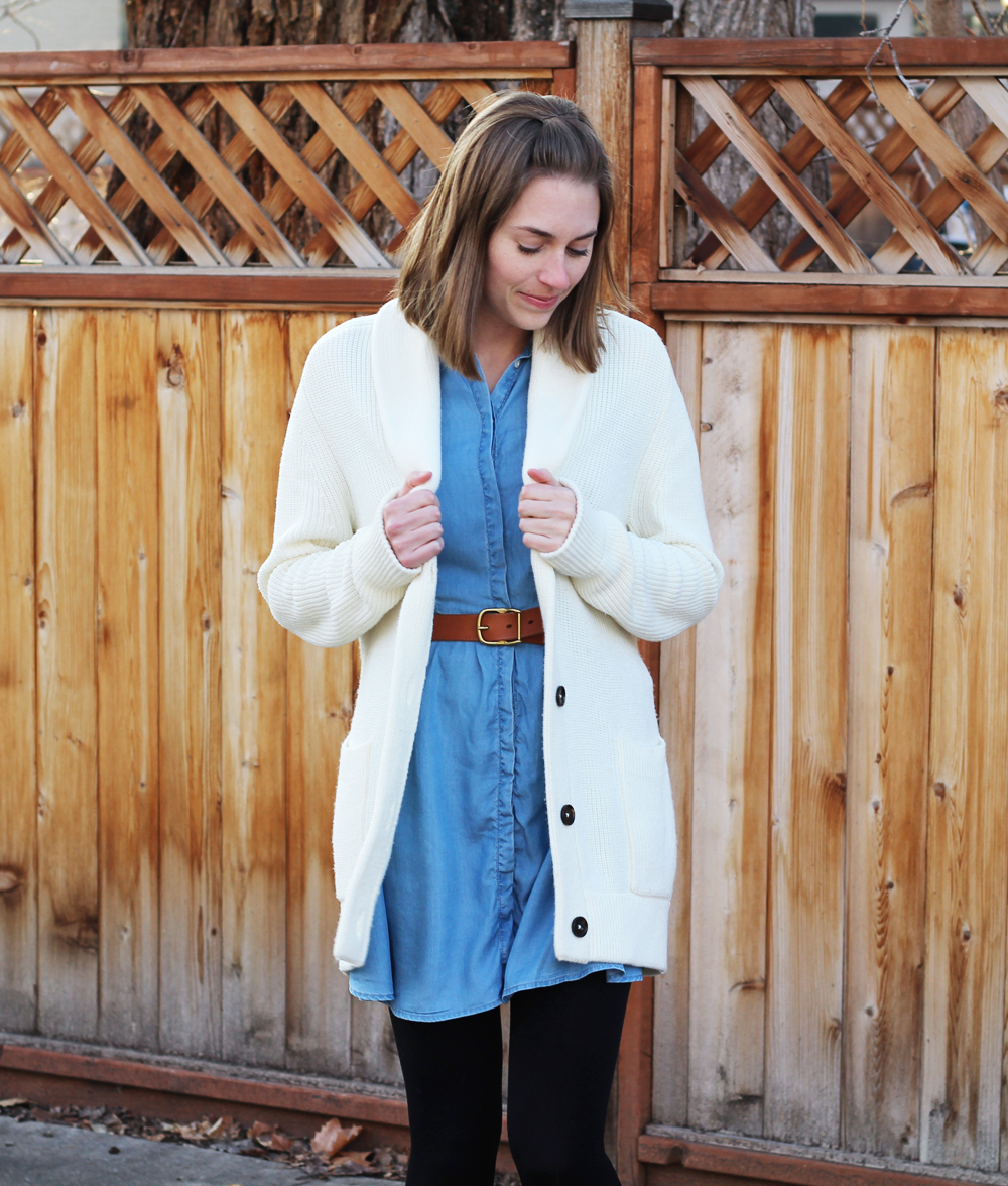 Layer a chunky knit cardigan over a chambray dress — Cotton Cashmere Cat Hair