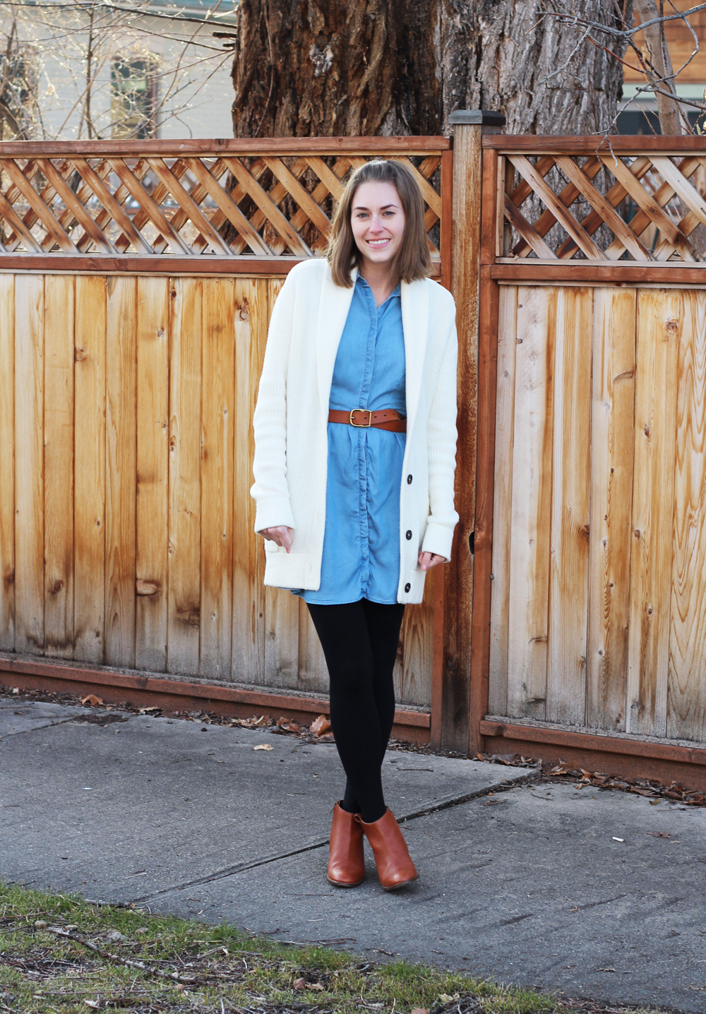 Ivory chunky cardigan, chambray dress, black tights, cognac ankle boots and belt — Cotton Cashmere Cat Hair