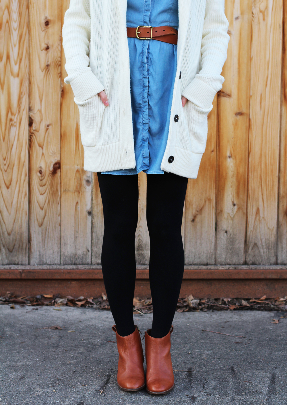 Ivory chunky cardigan + chambray dress + black tights + cognac boots and belt — Cotton Cashmere Cat Hair